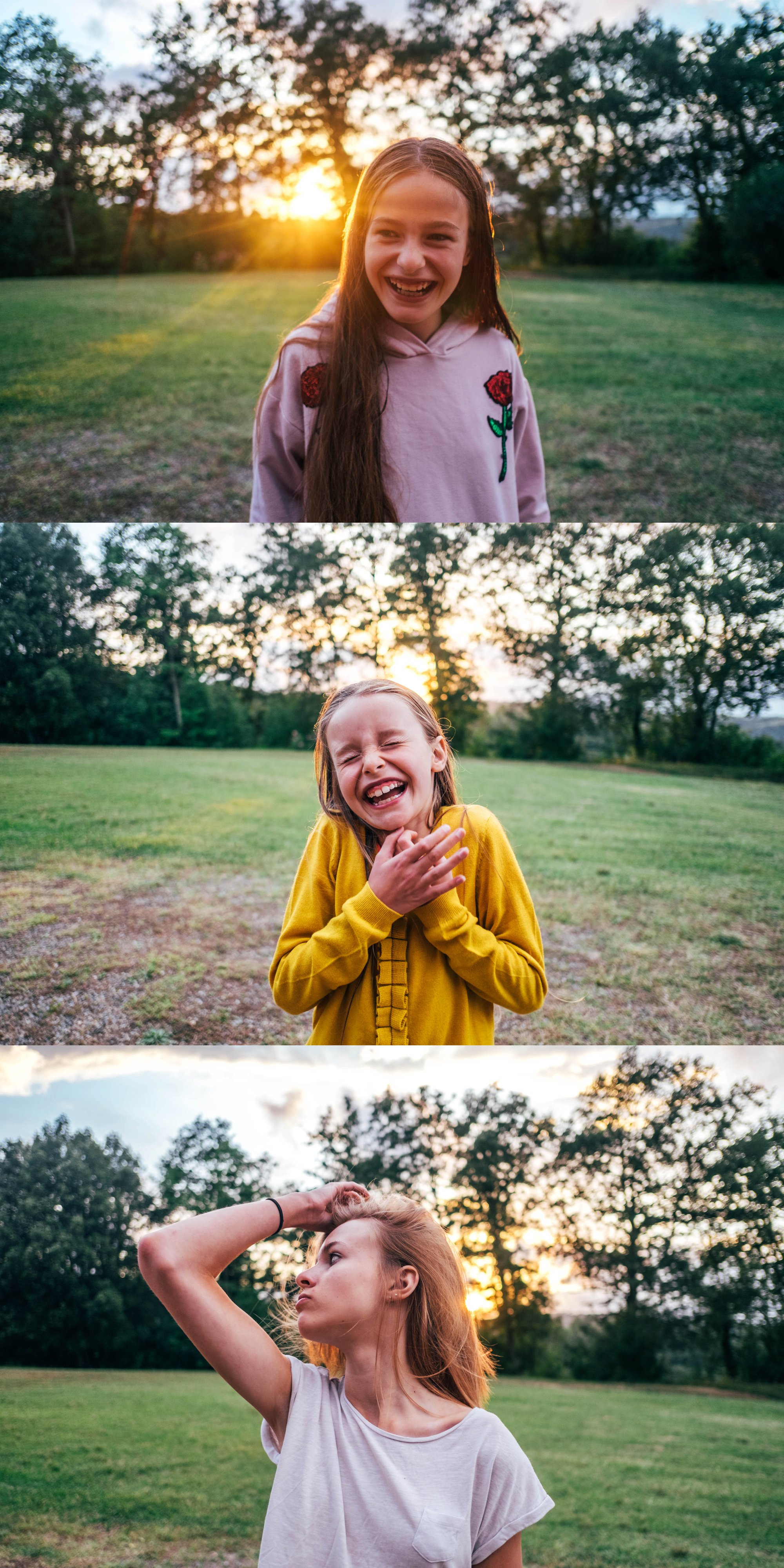 Three sisters in Tuscan sunset Essex Documentary Wedding Travel Family Photographer