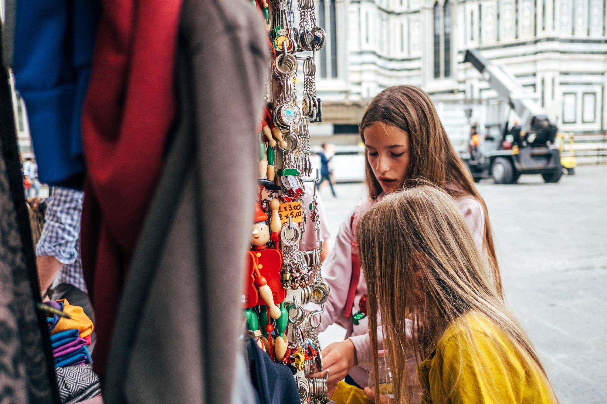 Girls shop market Florence Essex Documentary Family Wedding Travel Photographer