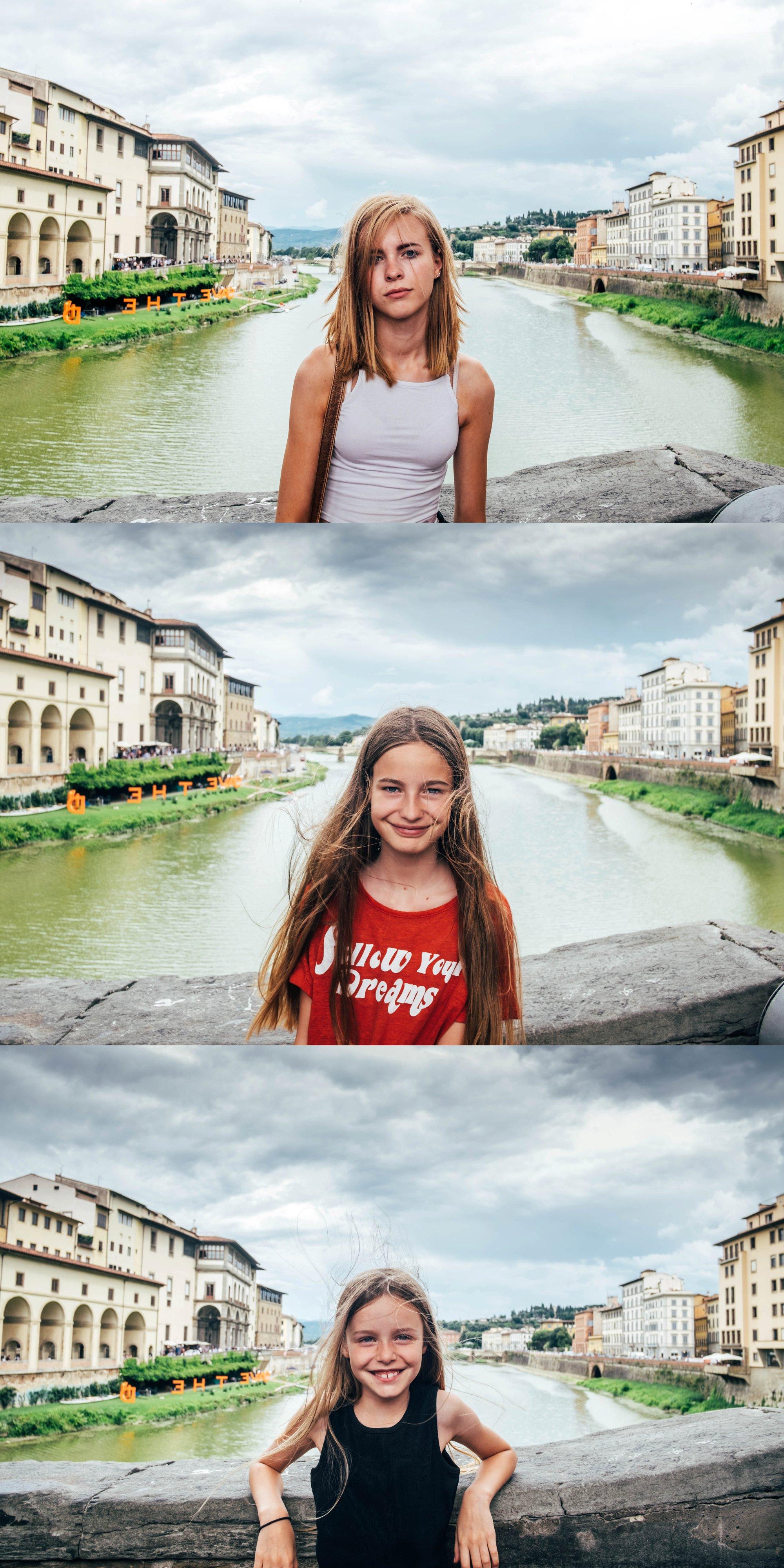 Three sisters on the Ponte Vecchio Florence Essex Documentary Wedding Travel Photographer
