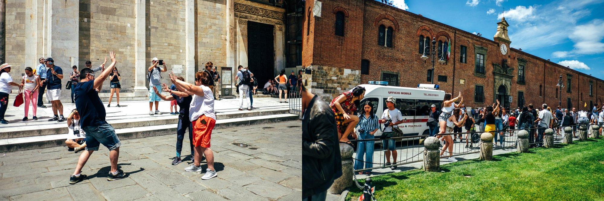 Tourists at Pisa Essex Documentary Travel Wedding Photographer
