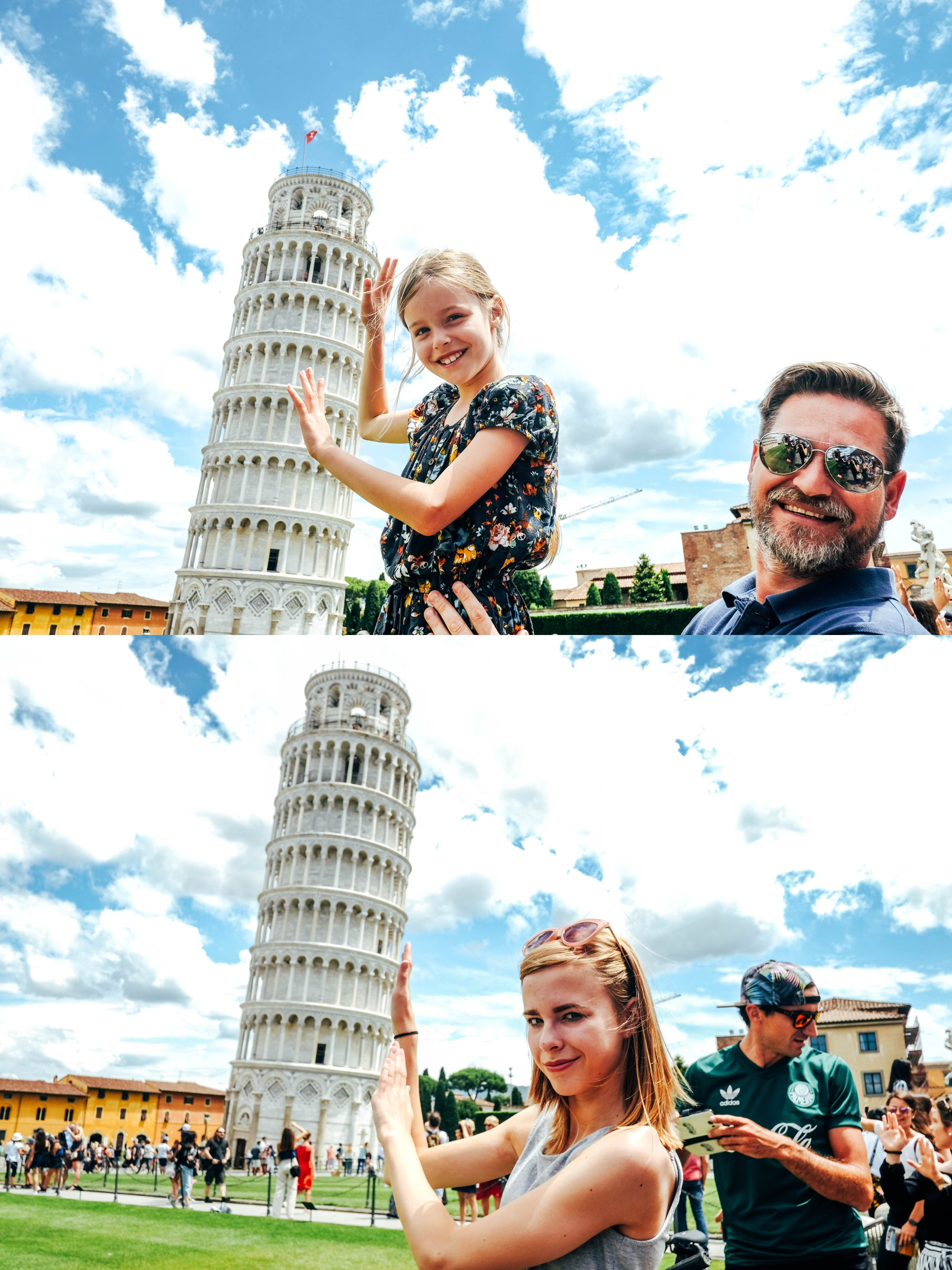 Kids holding up Leaning Tower of Pisa Essex Documentary Travel Wedding Photographer