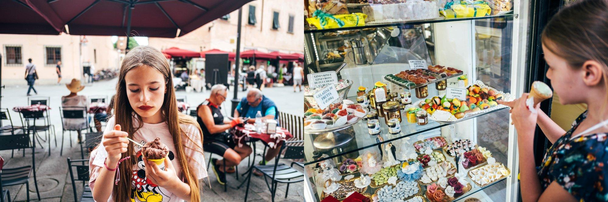 Eating Ice creams in Pisa Essex Documentary Travel Wedding Family Photographer