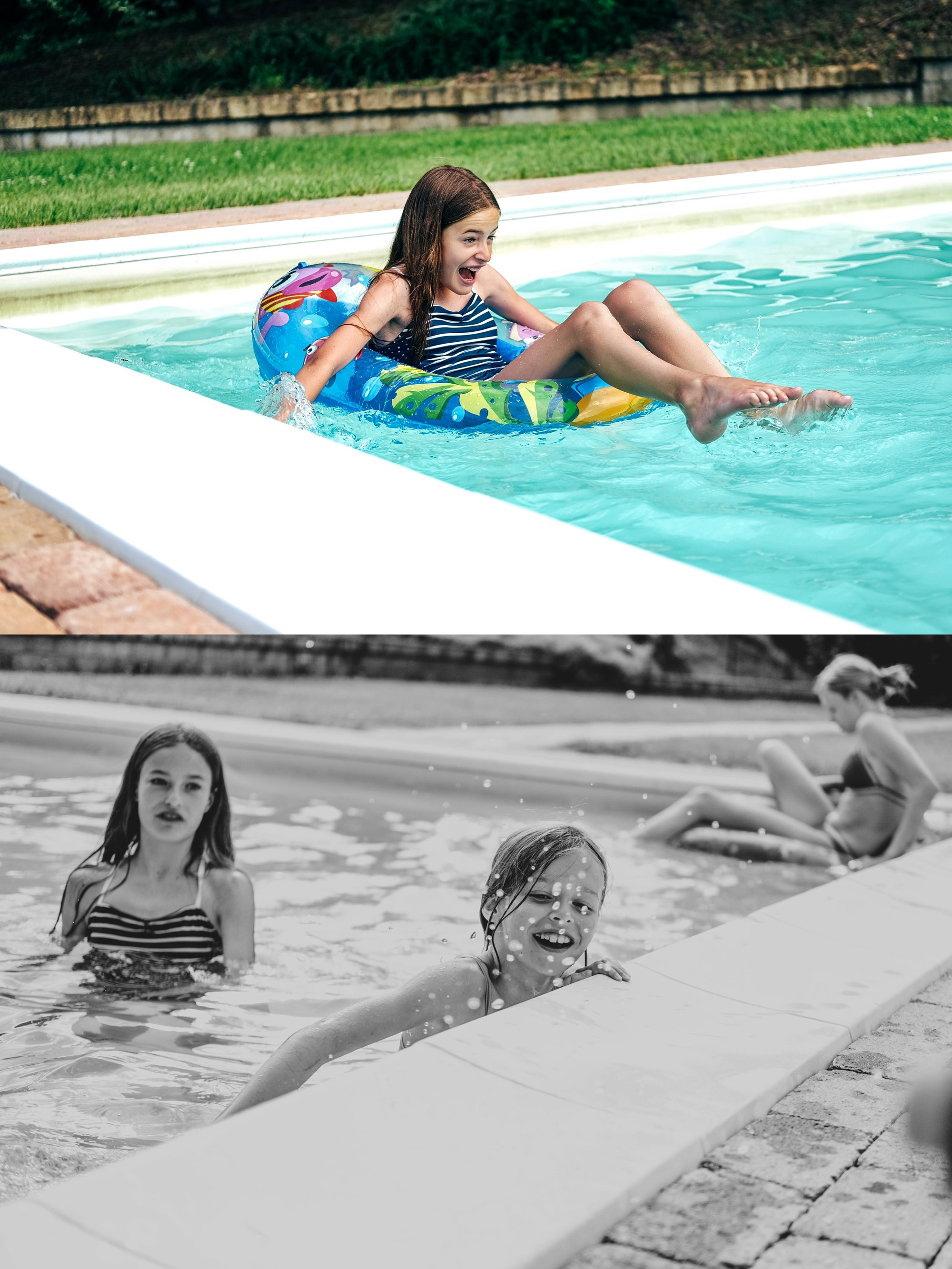 Kids in swimming pool Tuscany Essex Documentary travel family photographer