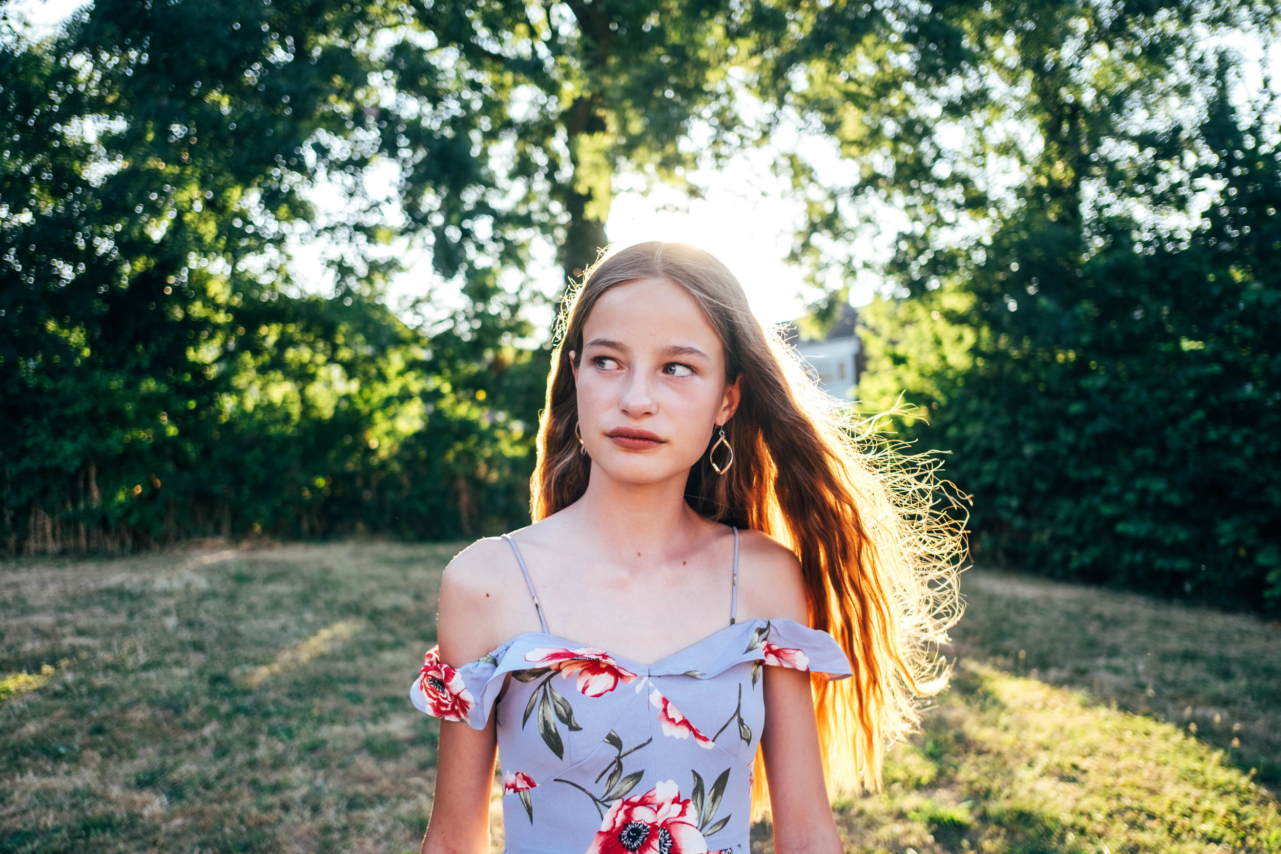Tween girl in evening summer light