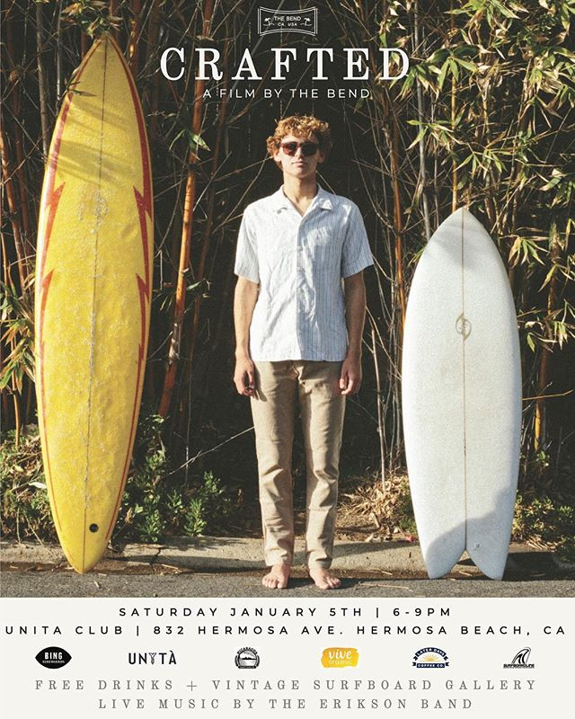 Don't miss our premiere of CRAFTED, a film by @the.bend in collaboration with @bingsurfboards, at @unita.club in Hermosa Beach this Saturday. Starring my boy @willallen.w ripping some vintage boards from the 60's and 70's. Beverages provided by @nica_craftbeerco @vive_organic @laterdayscoffee + vintage board gallery from @buggscollection + live music by @theeriksonband.