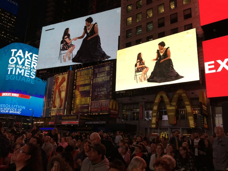 """I produced a video called  """"Kids Meet an Opera Singer""""  and it played in Times Square this week! Thanks to Seattle Opera, HiHo Kids, Angel Blue, and Gabrielle Nomura Gainor for making it happen! Sept 2018"""