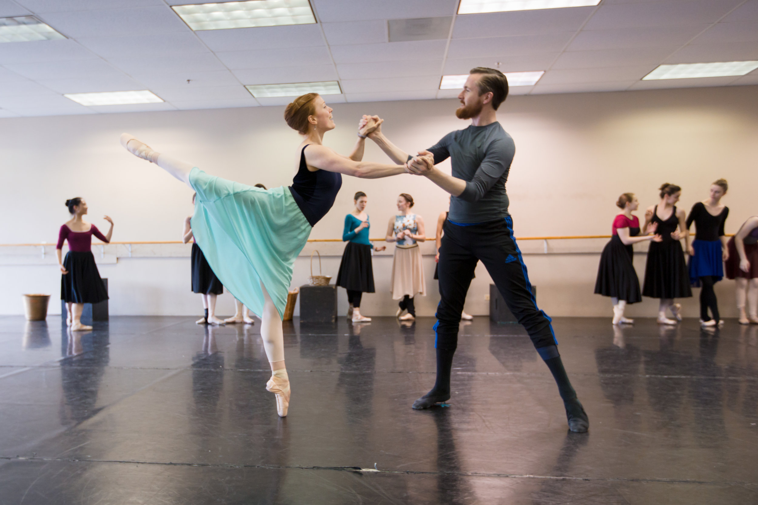 """Lorianne Barclay (Placidia) and Samuel Opsal (""""Doctor"""" Chillingworth) in rehearsal for  Scarlet ."""