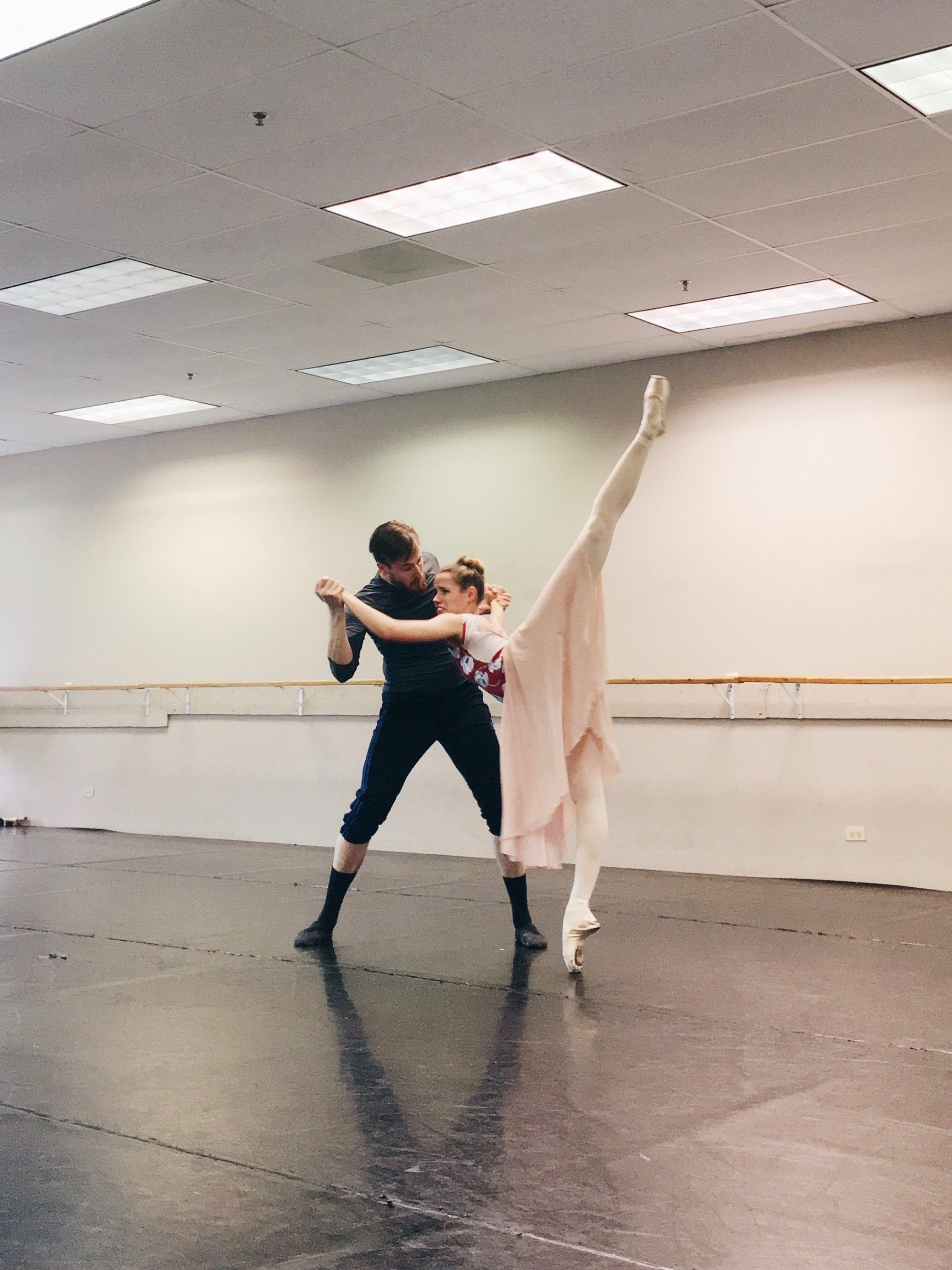 Samuel Opsal and Brette Benedict rehearsing the Jail Scene pas de deux from  Scarlet .