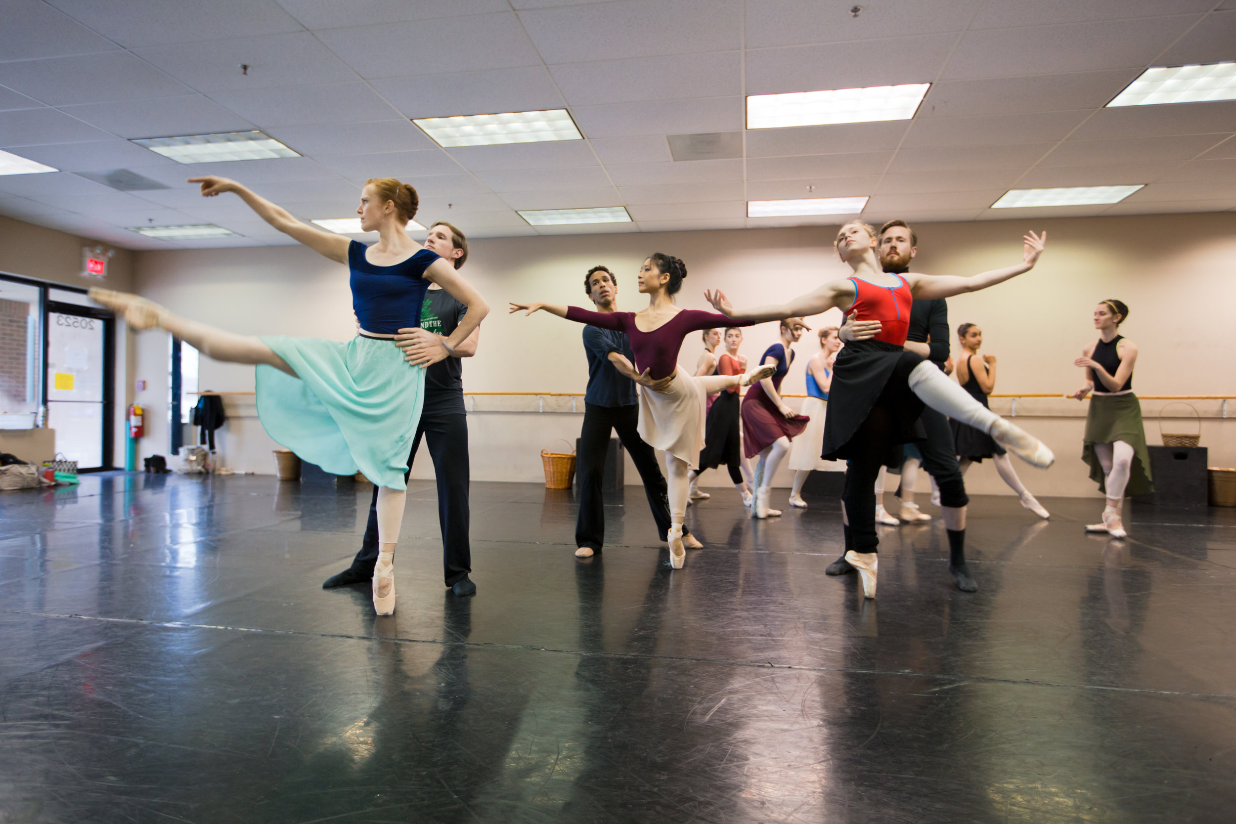 """Emily Ratkos (Far Right) with Samuel Opsal (""""Doctor"""" Chillingworth) and Ballet 5:8 artists of the company in rehearsal for  Scarlet ."""
