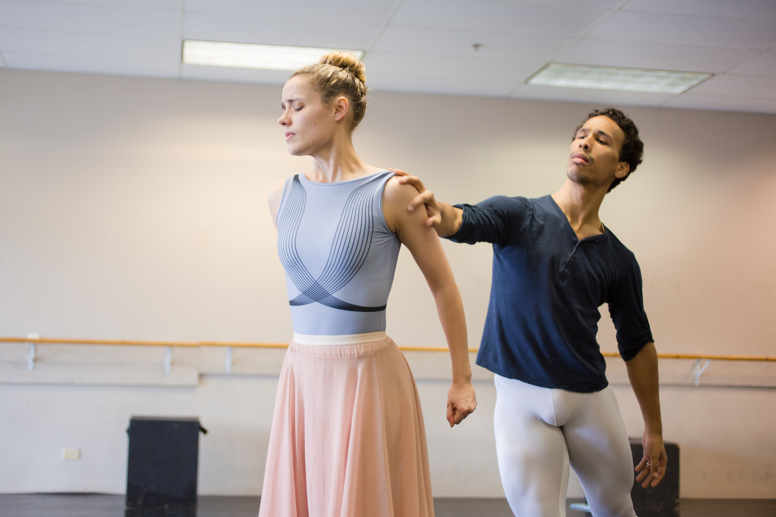 Antonio Rosario (Arthur Dimmesdale) and Brette Benedict (Hester Prynne) in rehearsal for  Scarlet .