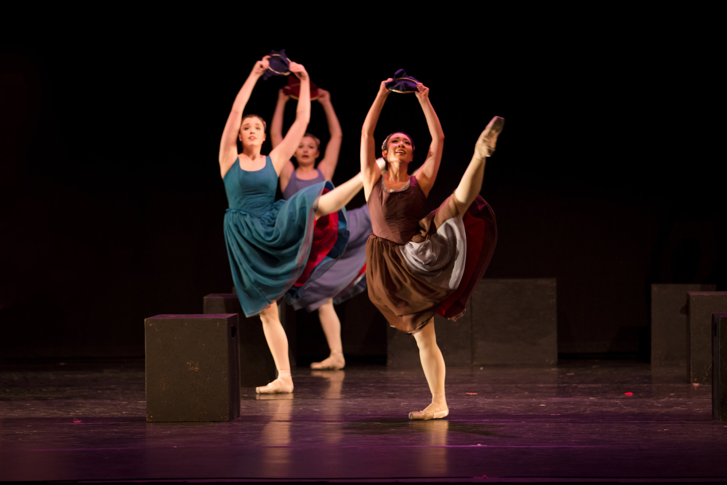 """Stephanie Joe (Silence) and Artists of the Company in the Act II """"Sewing Dance"""" in  Scarlet ."""