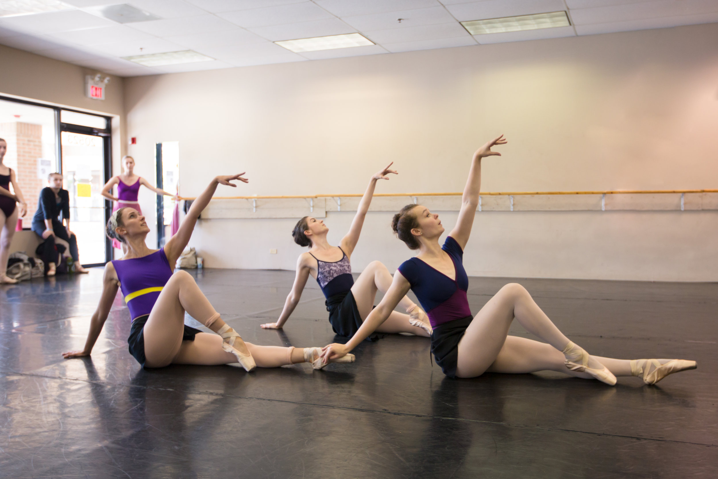 Jessica Lohr (Far left) and artists of the company rehearsing  All God's Children .