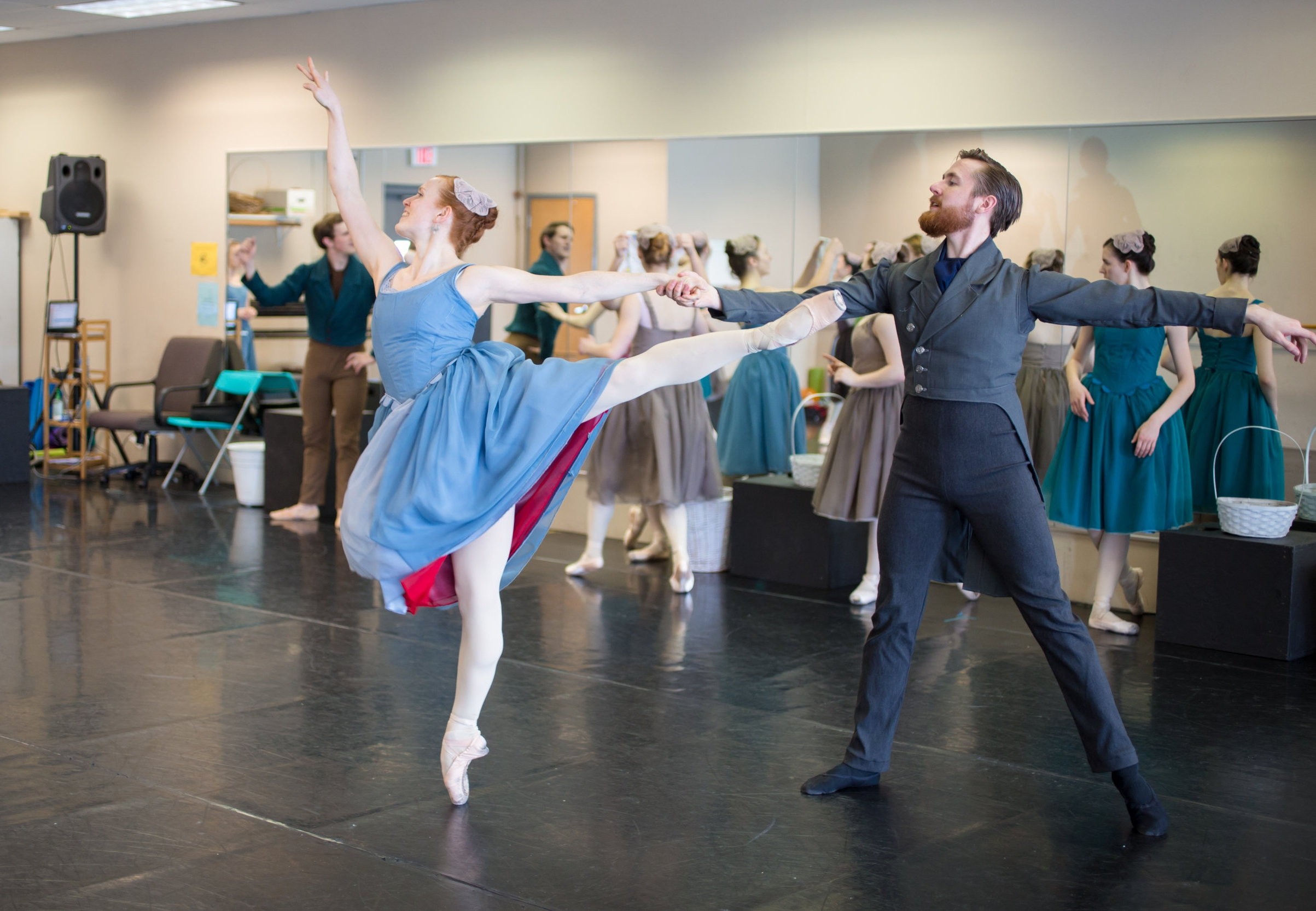 Lorianne Barclay with Samuel Opsal in rehearsal for  Scarlet .