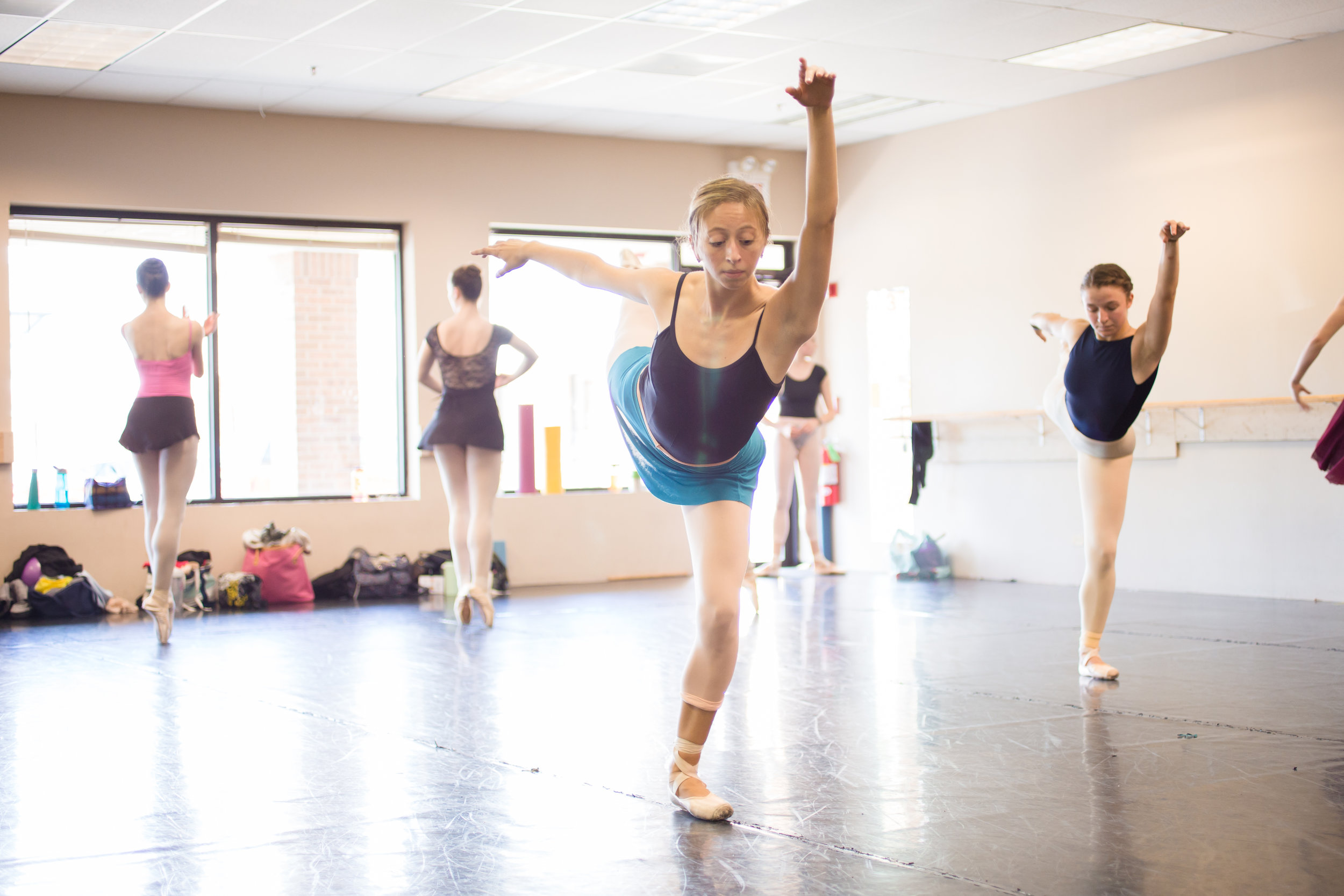 Company Artist Olivia Kruse in rehearsal for the Winter movement from  Four Seasons of the Soul.