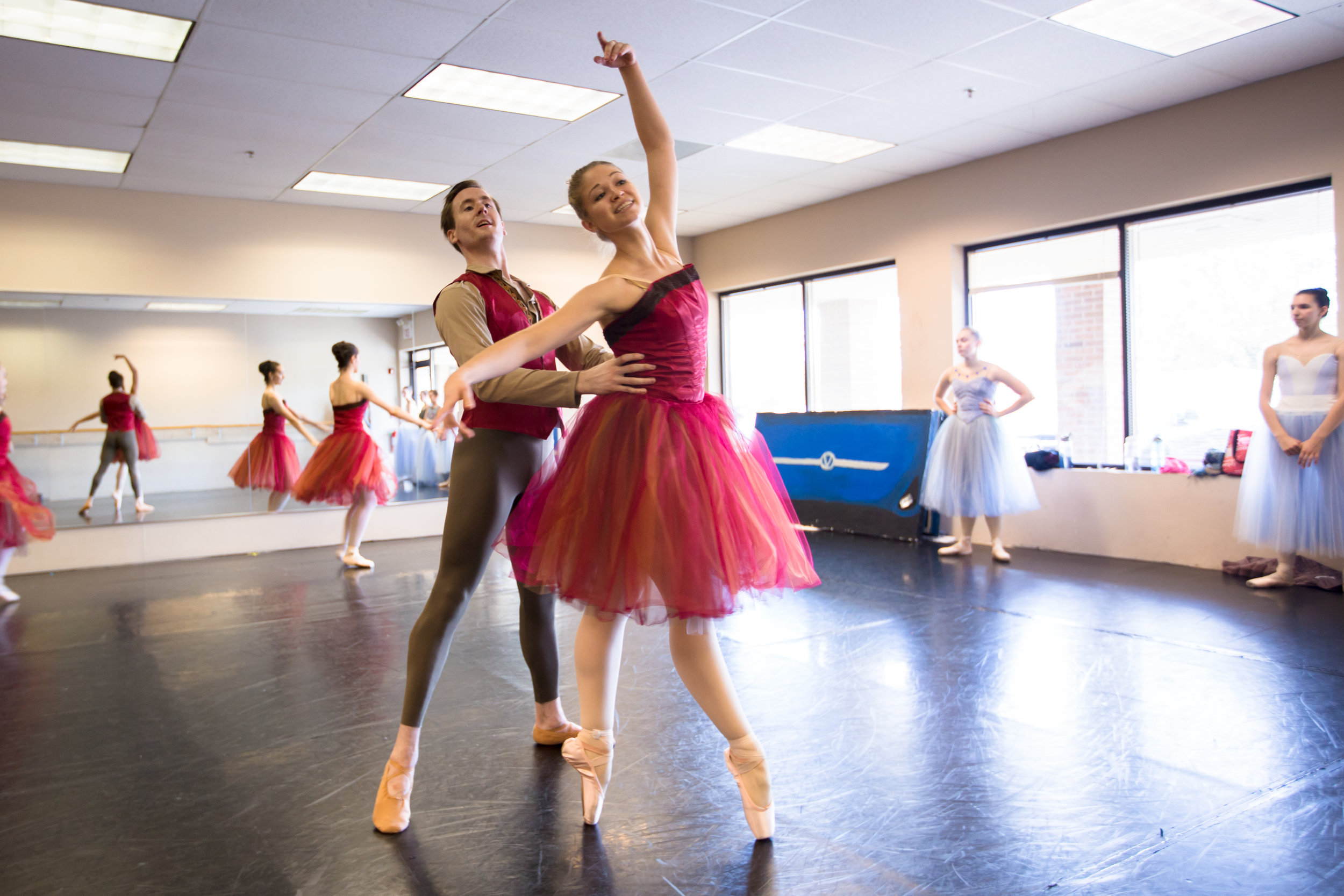 Company Apprentice Kennedy Ditzhazy rehearsing Fall in  Four Seasons of the Soul .