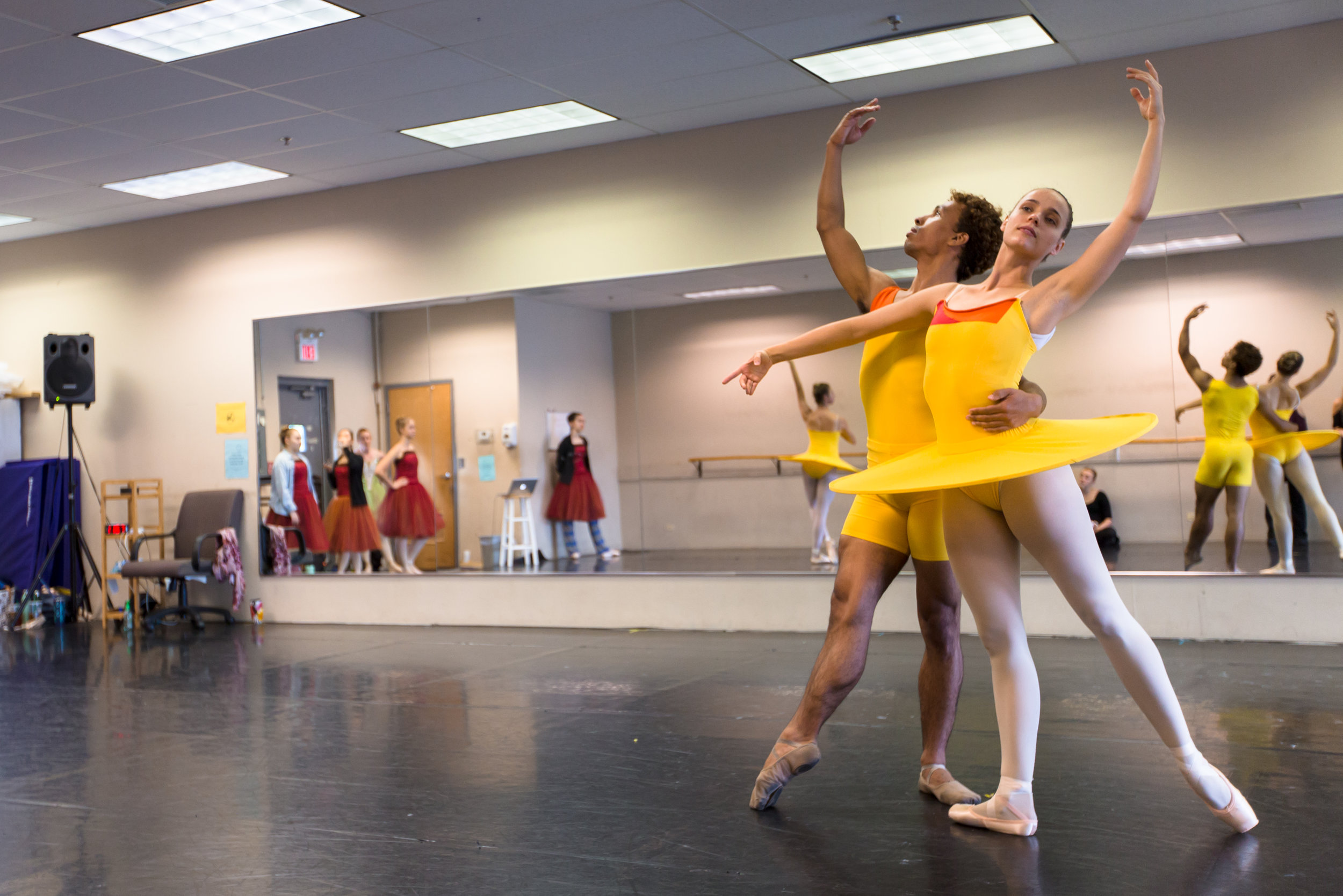 Lead artists brette benedict and antonio rosario rehearsing the summmer  pas de deux  from  four seasons of the soul .