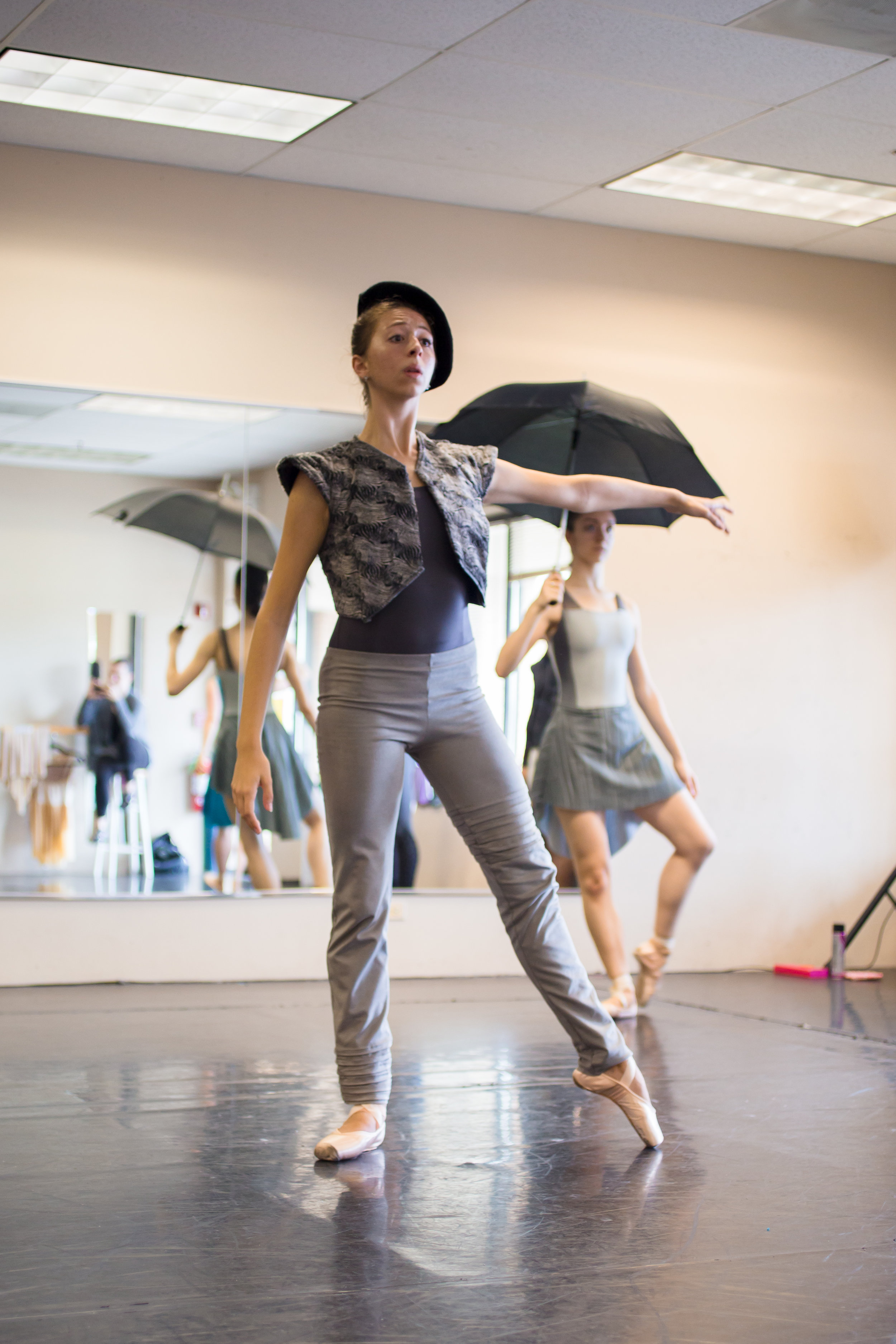 Company Artist Olivia Kruse in rehearsal for the Grey Town movement from  The Space in Between .