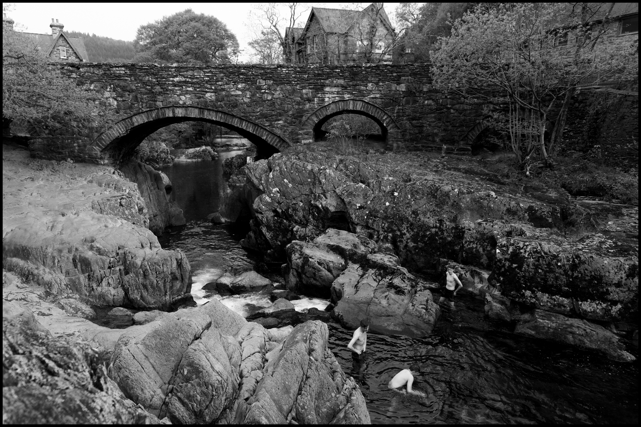 17 May 2019 - Three lads swimming, Betws-y-Coed Wales