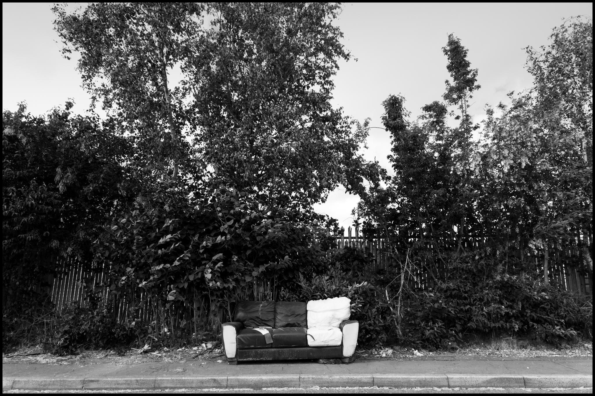 28 May 2019 - Old sofa, Salford UK