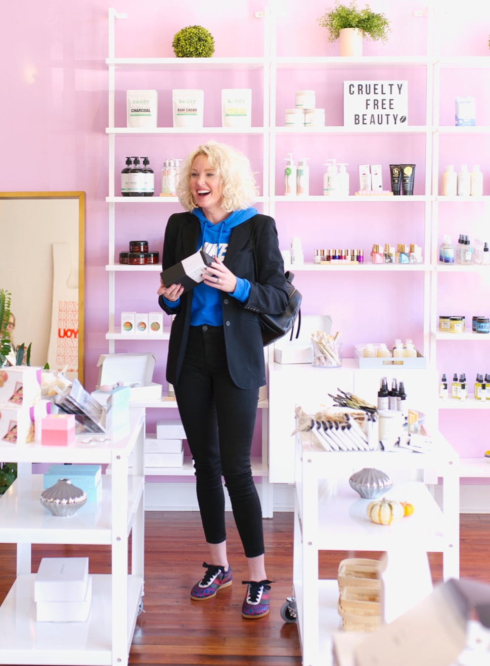 """When I walked into the boutique Mindy and the bridal stylist told me how much they liked my blazer…to which I replied, """"Thanks I just drove off with the gas nozzle still in my car and ripped it out of the pump. Hi! I'm Lyv nice to meet you."""" (And stuck my hand out to shake the stylist hand.) - Mindy died laughing because she just knows at this point that I am a walking disaster. The bridal stylist just blinked at me (I get this expression ALL THE TIME) wondering if I was serious and shook my hand like a dead fish.The stylist walked away and Mindy whispered, """"Did that really happen?!"""". And I said, """"YES DAMNIT!! Where is the bathroom because if there is any static in these dresses my gas covered hands are gonna blow off and I'll be holding your wedding flowers with metal hooks!!!!"""".Pretty sure Mindy sure walked away because she could no longer look me in the face and I don't blame her. She probably hid in a rack of dresses wishing we weren't friends!!! HAHA! Oh my god, I am dying as I type this. At least I was wearing my black blazer."""