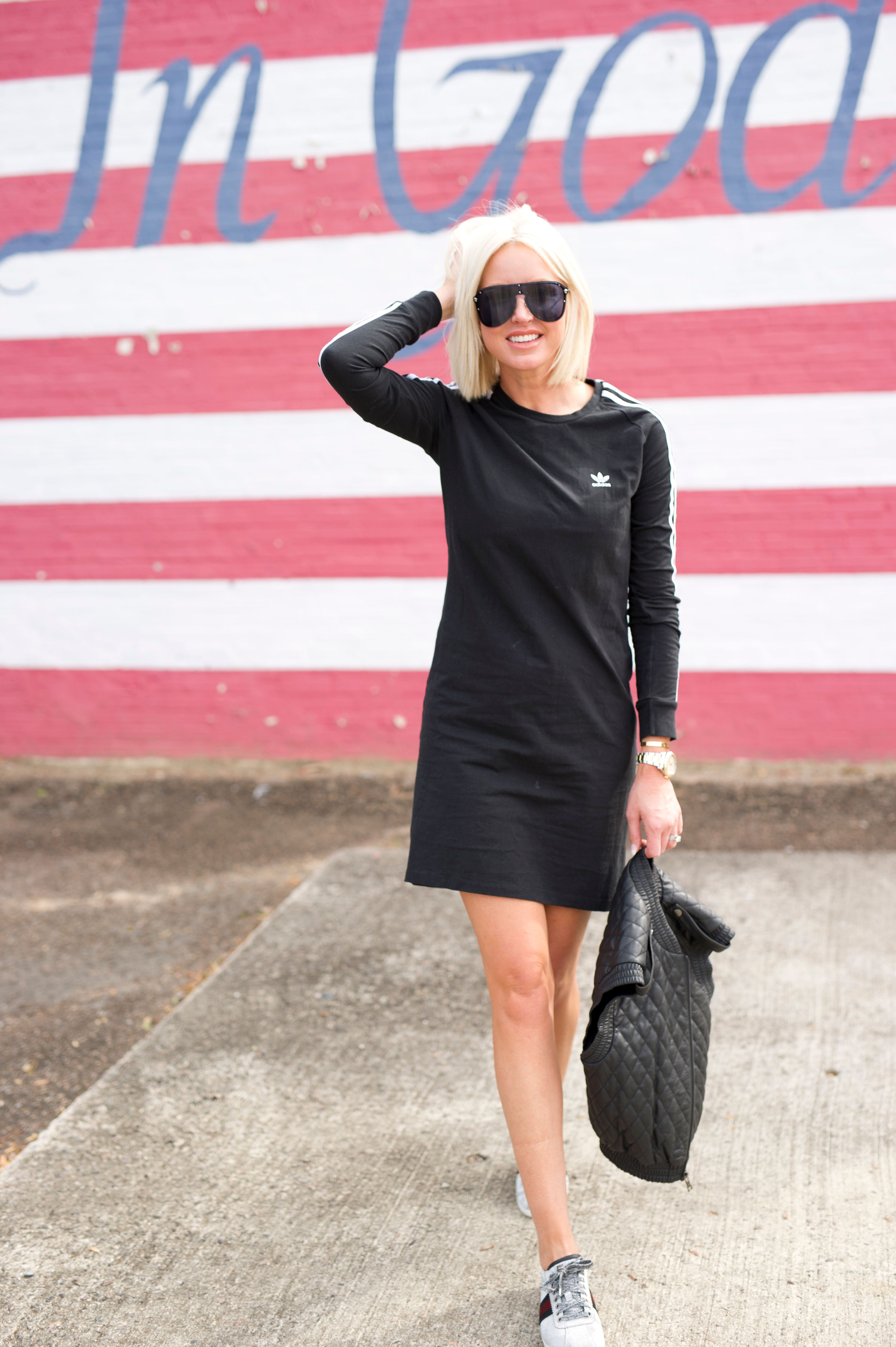 """Since an Adidas dress is technically """"athleisure wear"""" my first styling thought was, I'll just pair it with sneakers. - Styling the dress for a casual avenue felt like the safest option, I would feel most comfortable in pulling off the lewk."""
