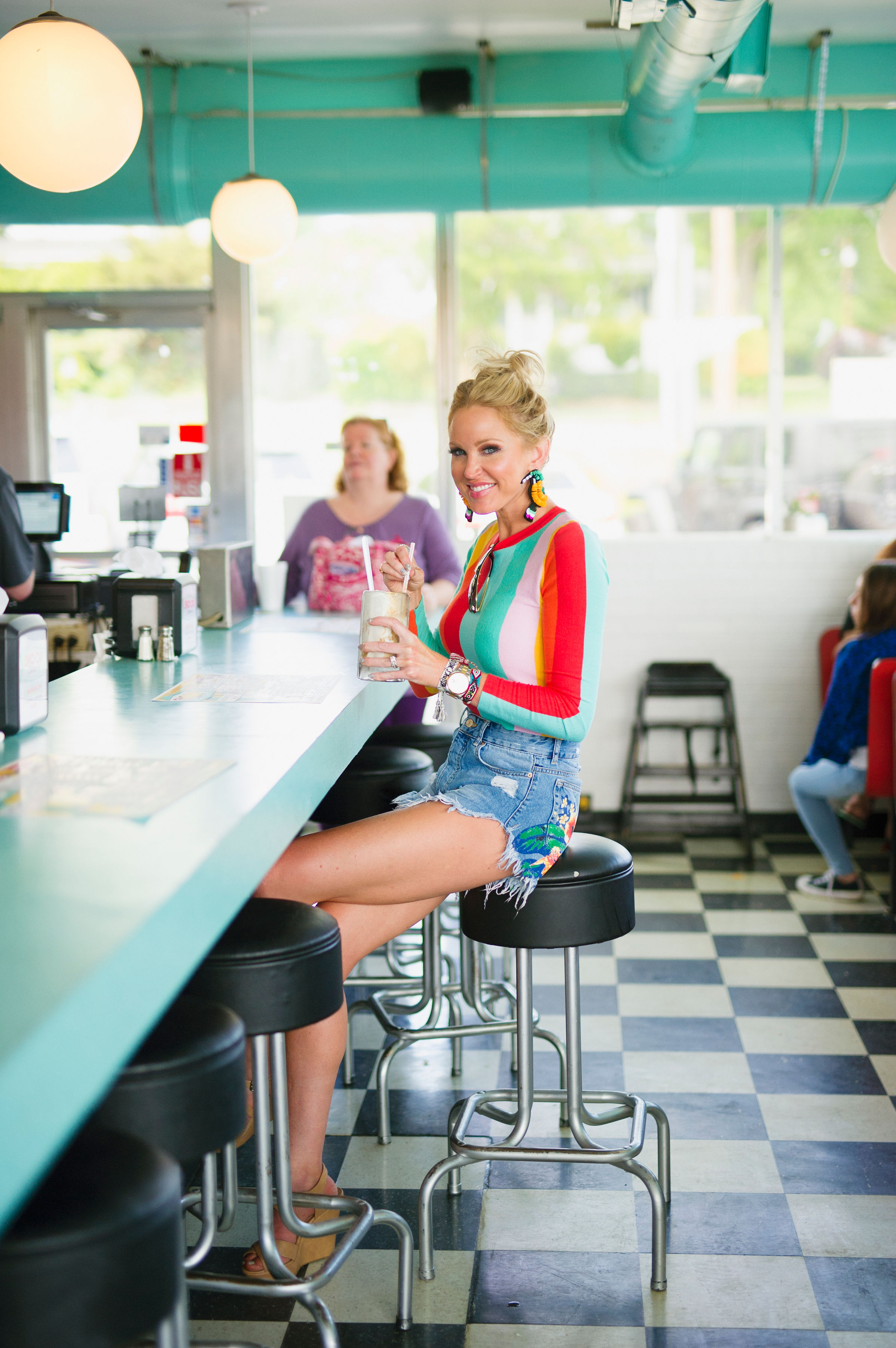 """The Sno Cap is a drive-up diner in North Augusta that is slinging some delicious coke floats and smiley face fries. - When I was walking my photographer, Laura Fulmer, through the lewks I was shooting on this day when we got to this sweater she was like, """"I HAVE THE PERFECT SPOT!"""""""