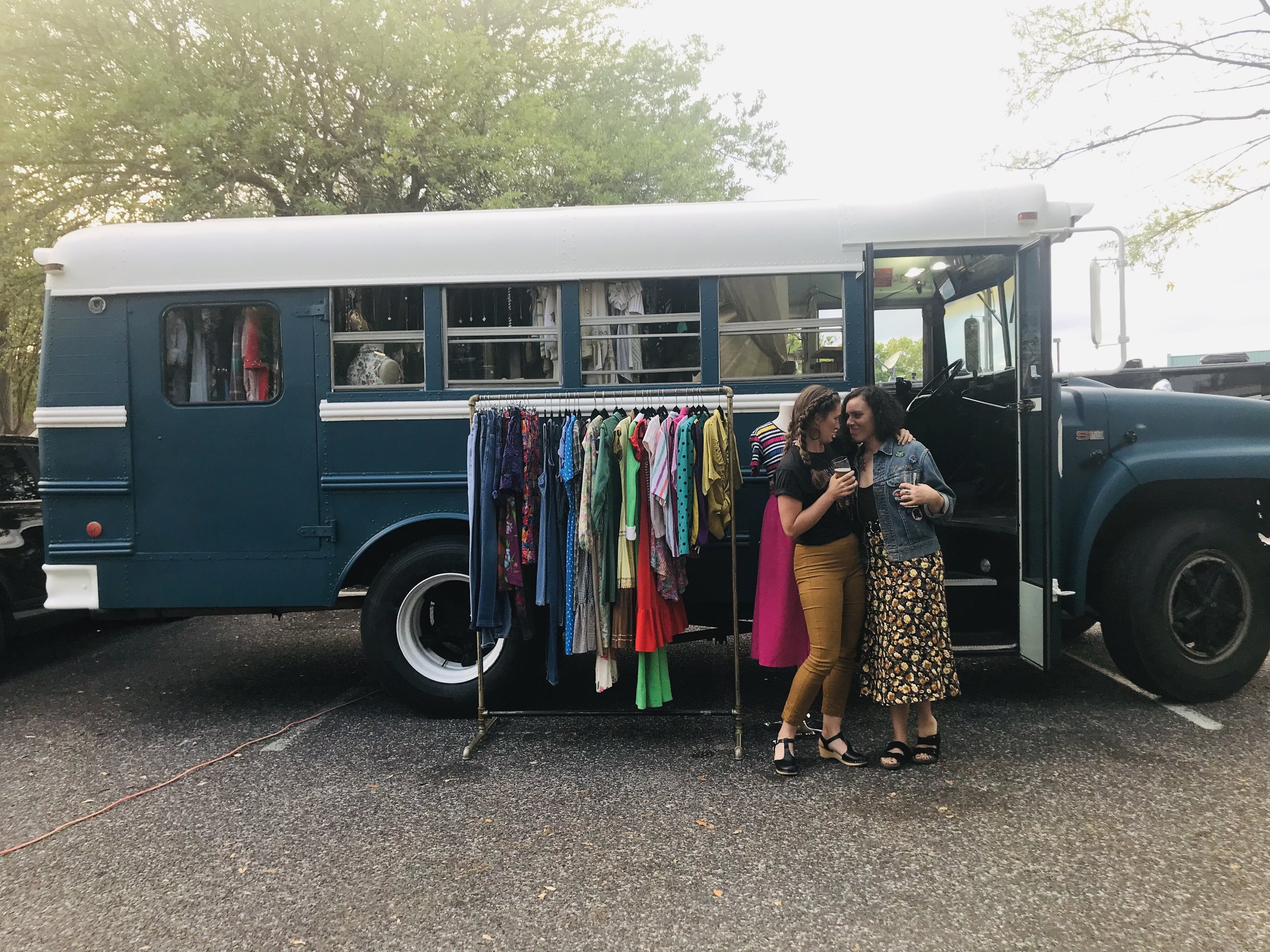 Kayla and Larrissa met in 2009 while serving milkshakes and beer at a local movie theater- always admiring each other's style. - In 2011, they decided to join forces and share their vintage collection by creating FKVintage.FKVintage lives inside a 1984 school bus the ladies had converted into a mobile shop!
