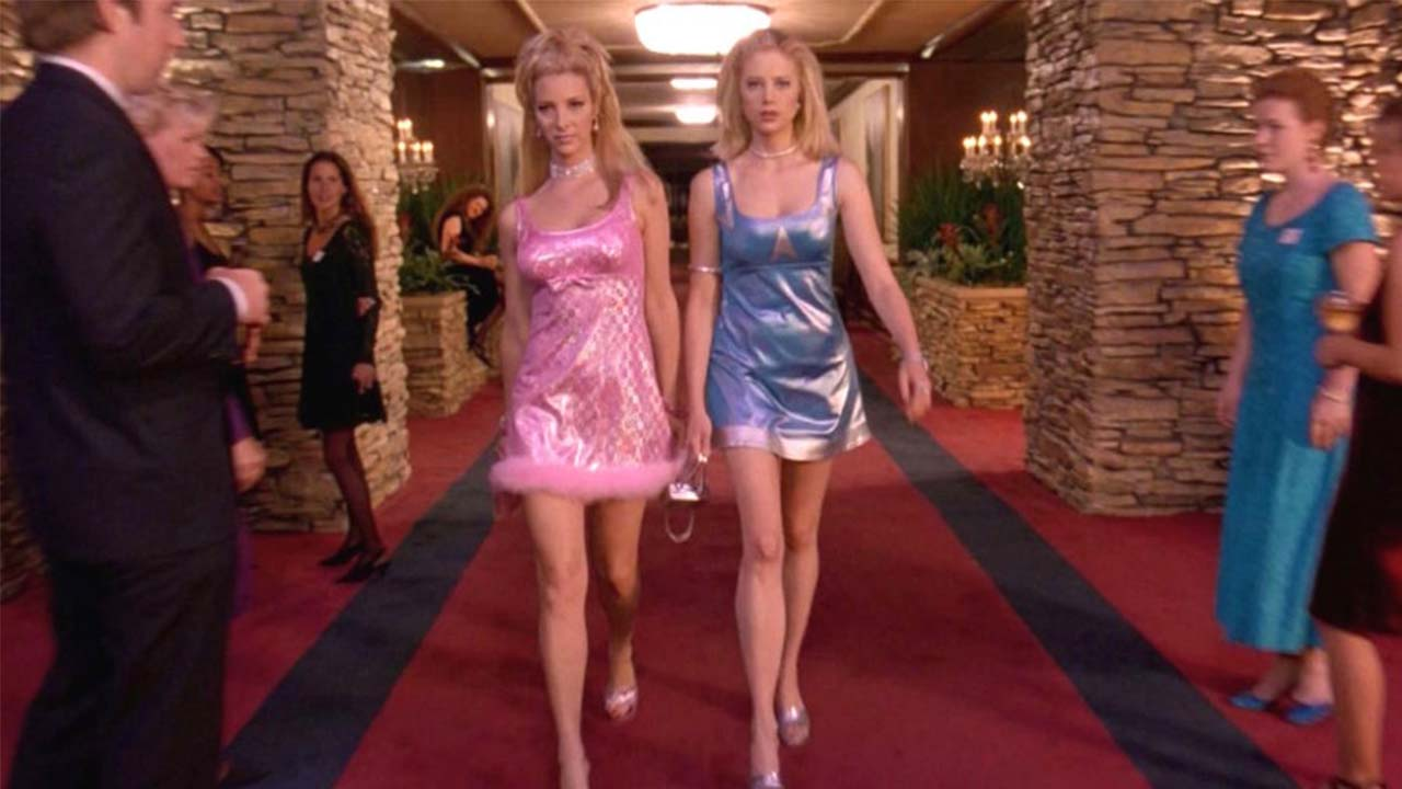 Romy and Michele get fed up with being made fun of and leave. Only to RETURN in their ridiculous, but fabulous outfits because that's who they really are! - They BUST back into the reunion and tell them they don't care about their opinions or judgement, because they like who they are.