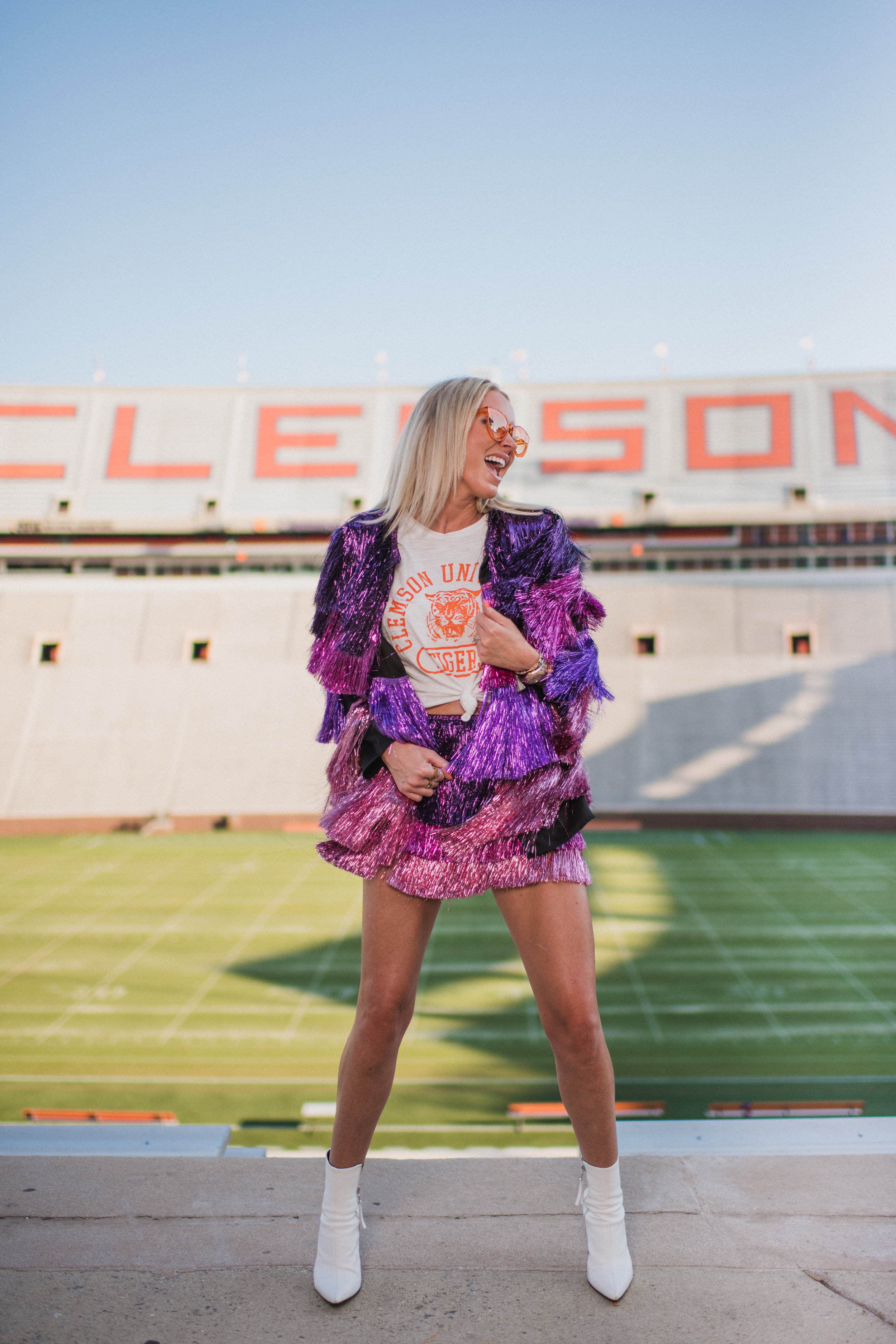 I'm here to bring Dolly Parton to Death Valley. - I may also touch on how having the Natty in California was the worst.The jacket and shorts pictured are from NastyGal. I was recently at a dinner with our dear friend and devoted Gamecock fan, Lauren Metts. I was telling her about my opportunity to shoot this blog in Death Valley. She exclaimed she had seen the perfect outfit!! She pulled out her phone and showed me a screenshot of this outfit, which I already had packed to bring to the shoot the next day.