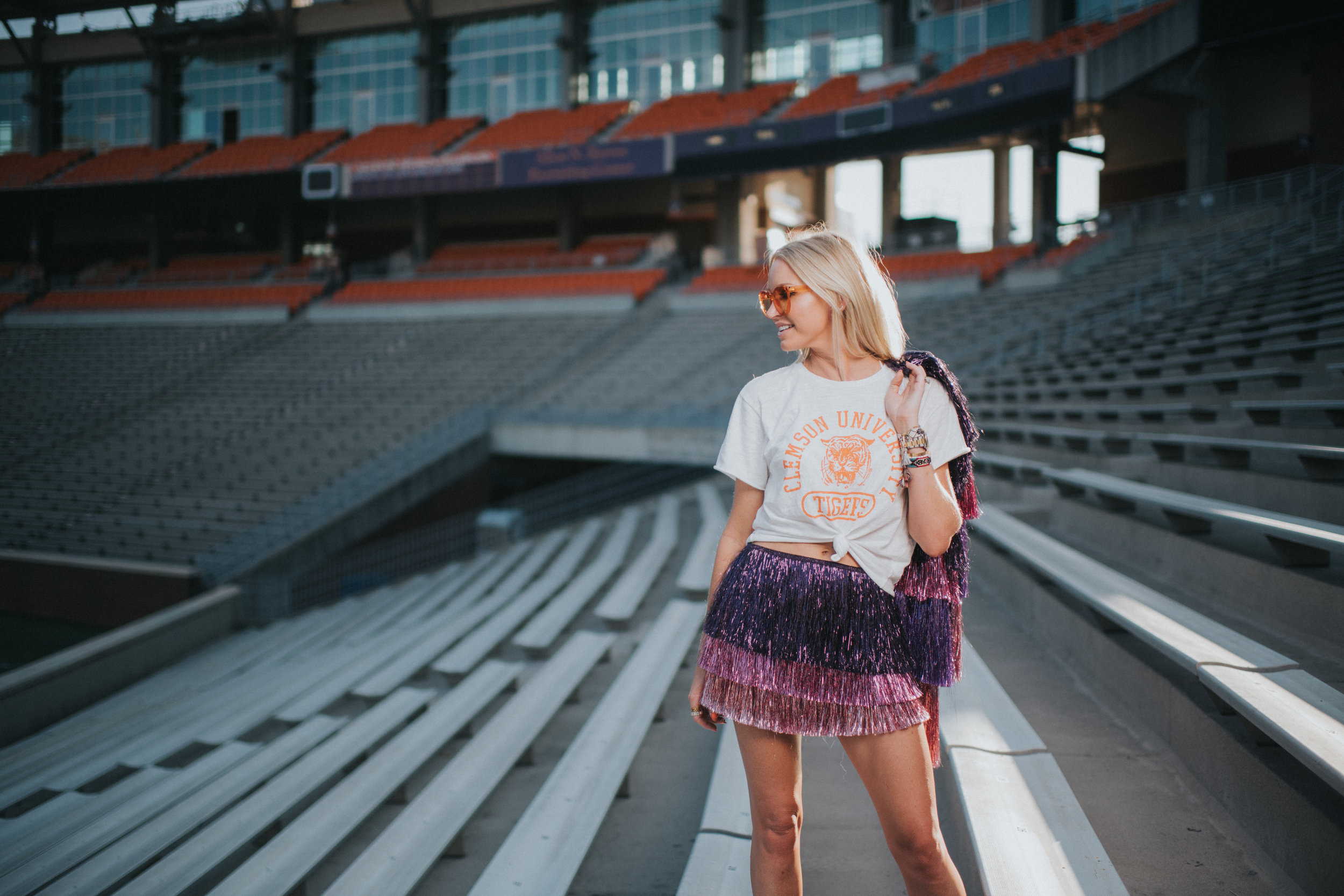 The Clemson t-shirt I have styled here, is from iibrunettes in Charleston. - It comes in gray or white and I am wearing the medium, so I can tie it up in a loose knot.Here's a link to their Insta page. They ship!