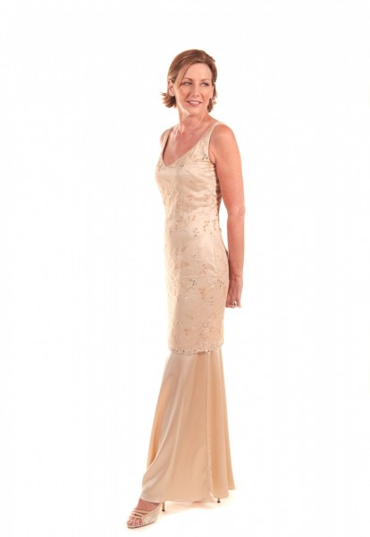 Wallander modeling the Beaded Tulle & Silk Long Dress, $1,385 at  Annette Ellen Designs