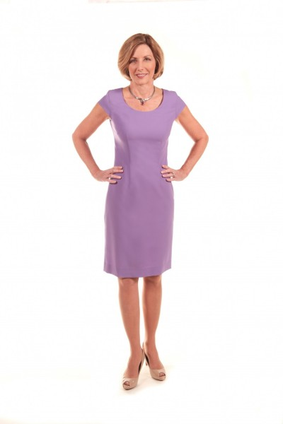 Wallander modeling the  Stretch Wool Shift Dress, $695 at  Annette Ellen Designs