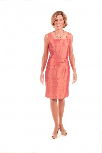 Wallander modeling the  Multi-Color Shantung Dress, $950 at  Annette Ellen Designs