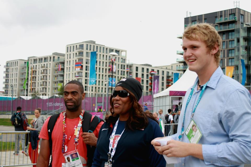 Tyson Gay,  Sharriefah Barksdale and team member Will Houp.