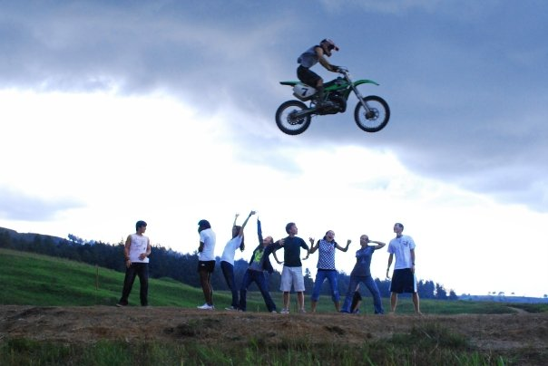 Luke jumping over a group of us by the BMX track. Photo: Bethany Donaldson