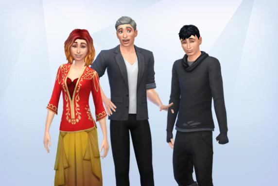My cats, Charlotte, Luke, and Owen, as human Sims