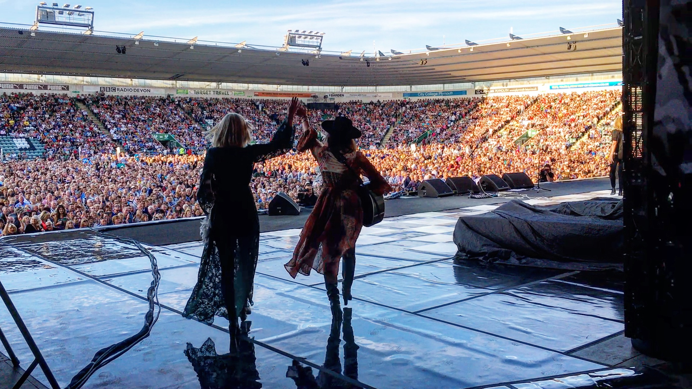 The Sisterhood opening up for Rod Stewart in Plymouth, England.jpg