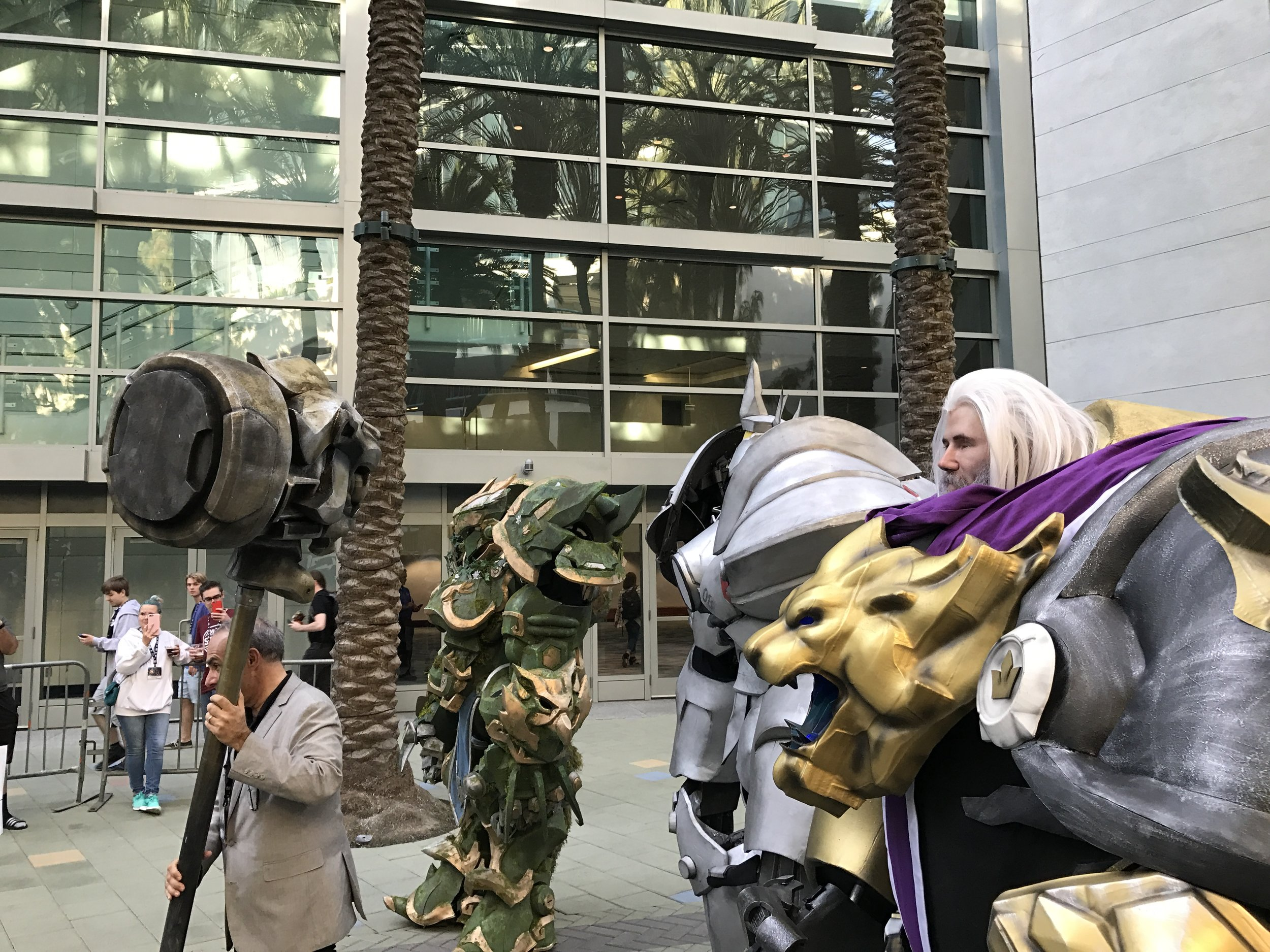 The voice of Reinhardt proceeded with 3-custom made Reinhardt Cosplayers.