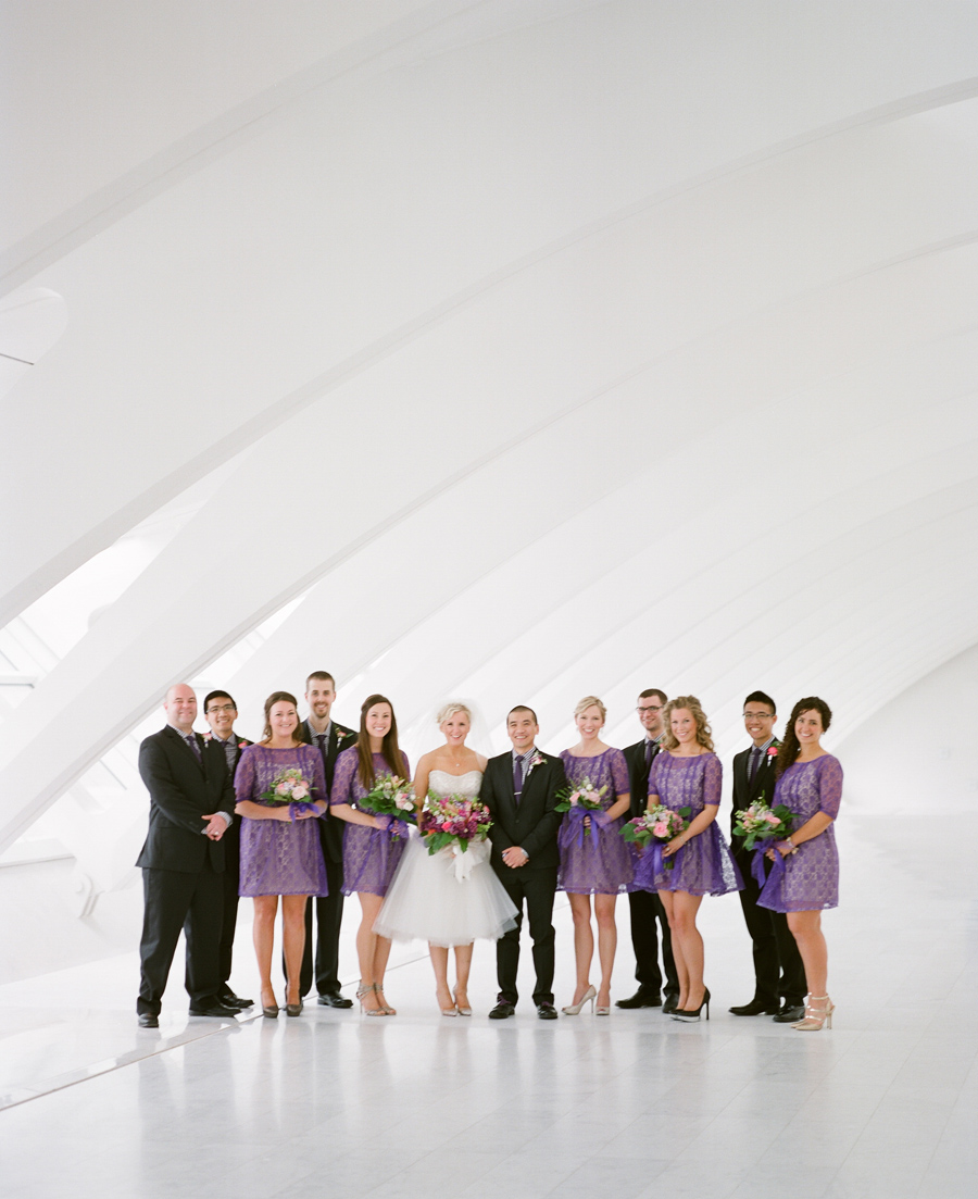 """milwaukee art museum wedding photos"", ""milwaukee wedding photographers"", ""purple wedding party"", ""purple wedding ideas"""