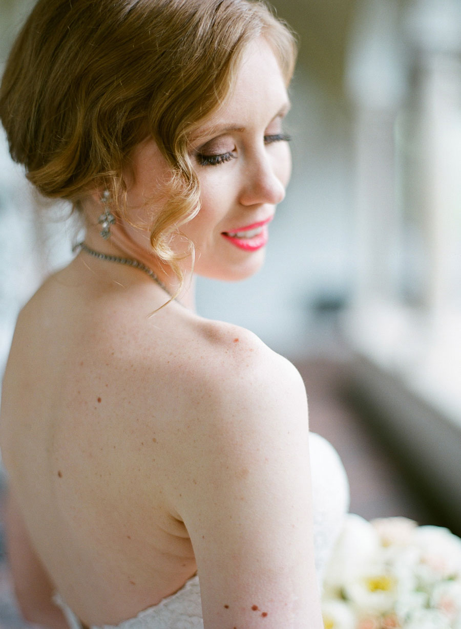 beautiful bride wearing vintage earrings at Villa Terrace