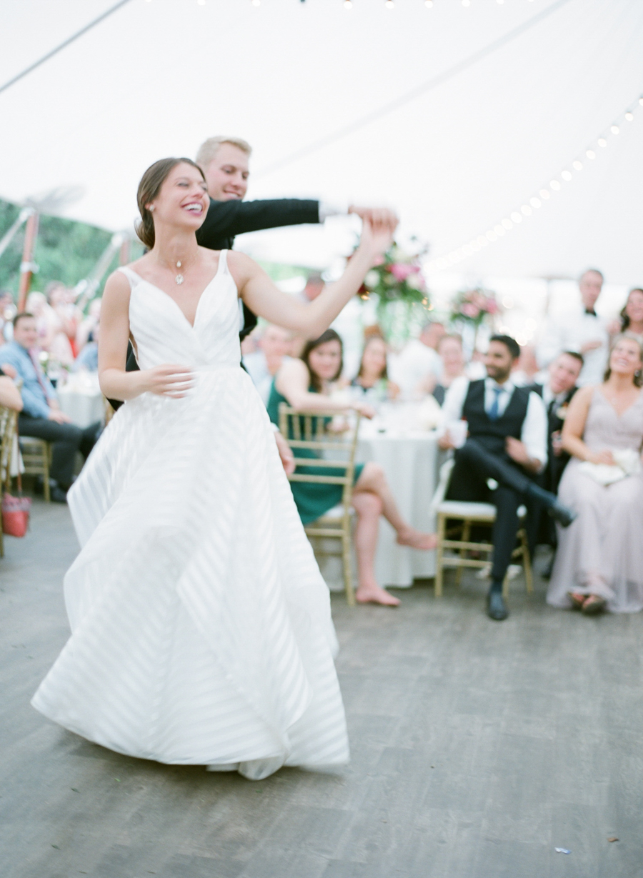 backyard wausau wedding reception first dance