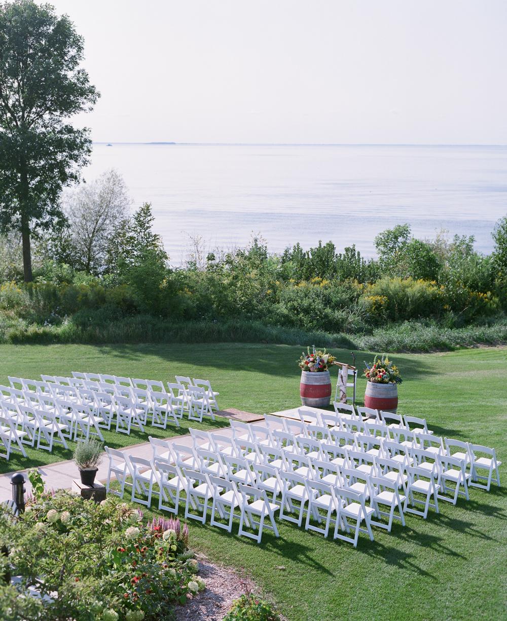Door County Horseshoe Bay Wedding outdoor ceremony chairs