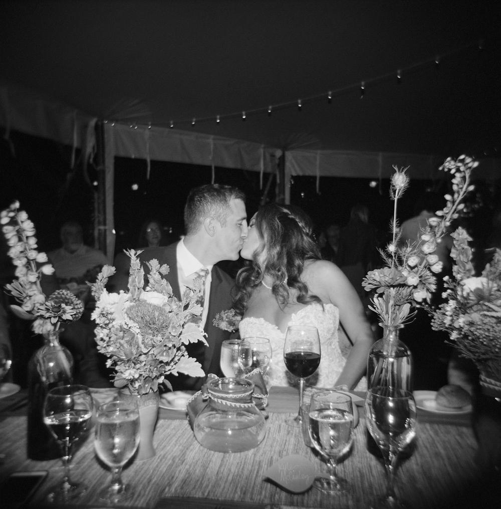 door county weddings bride and groom kissing at a kings table