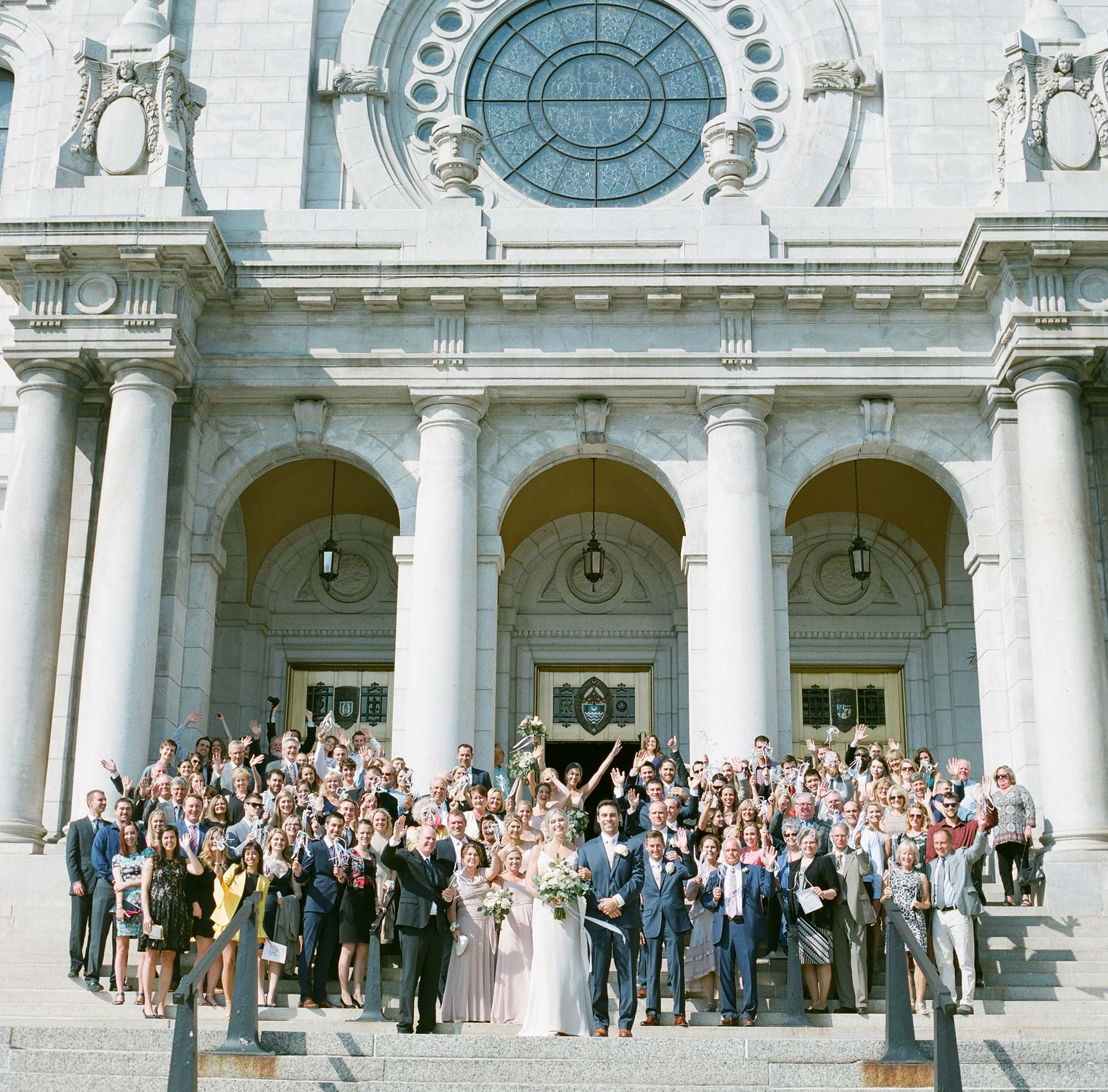 The basilica of saint mary wedding wedding party on the stairs