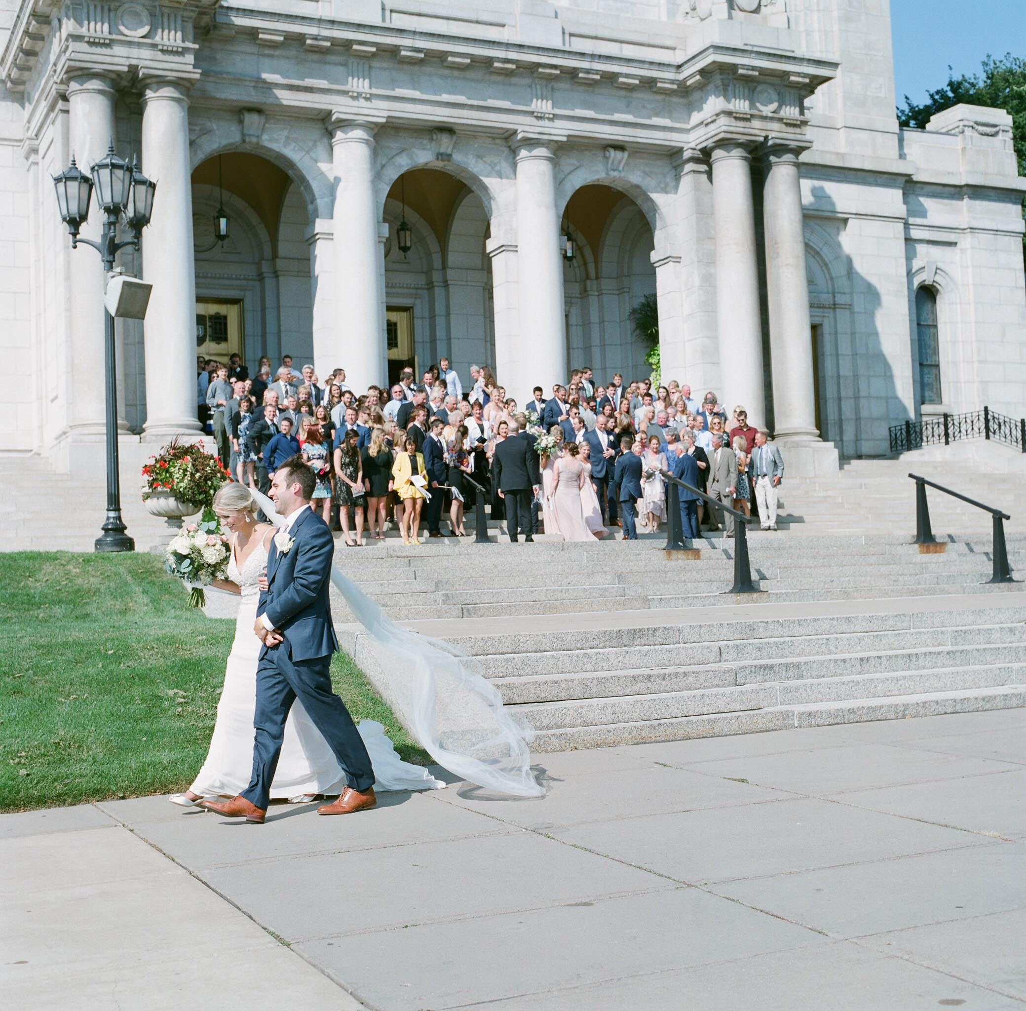 The basilica of saint mary wedding bride and groom exit