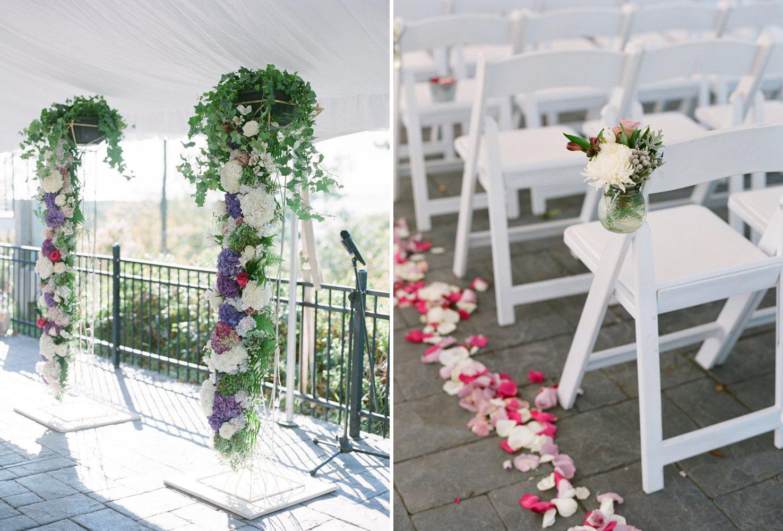 september wedding ceremony decor at horseshoe bay golf club