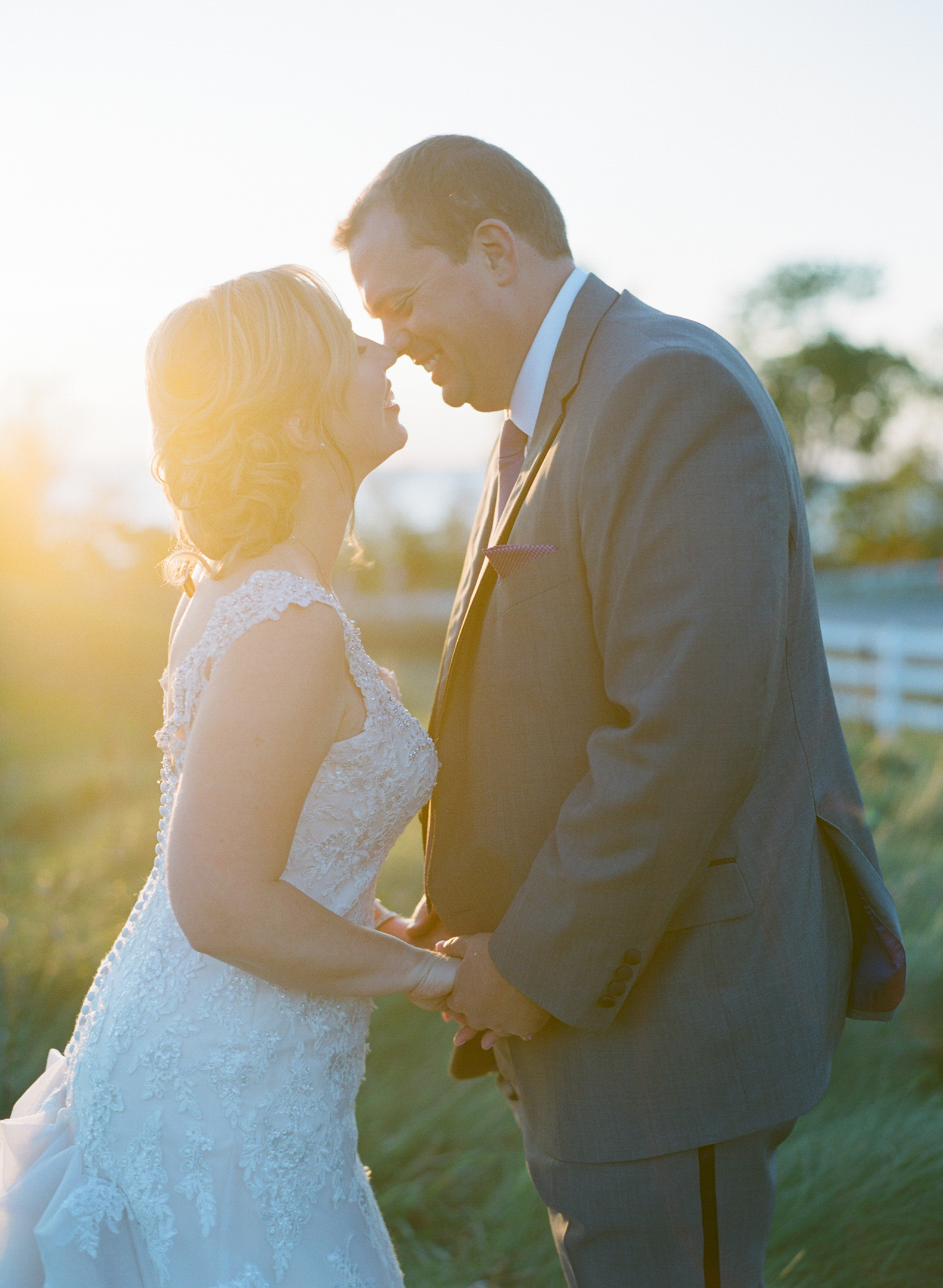 Bride and groom sunset portrait in Door County, WI