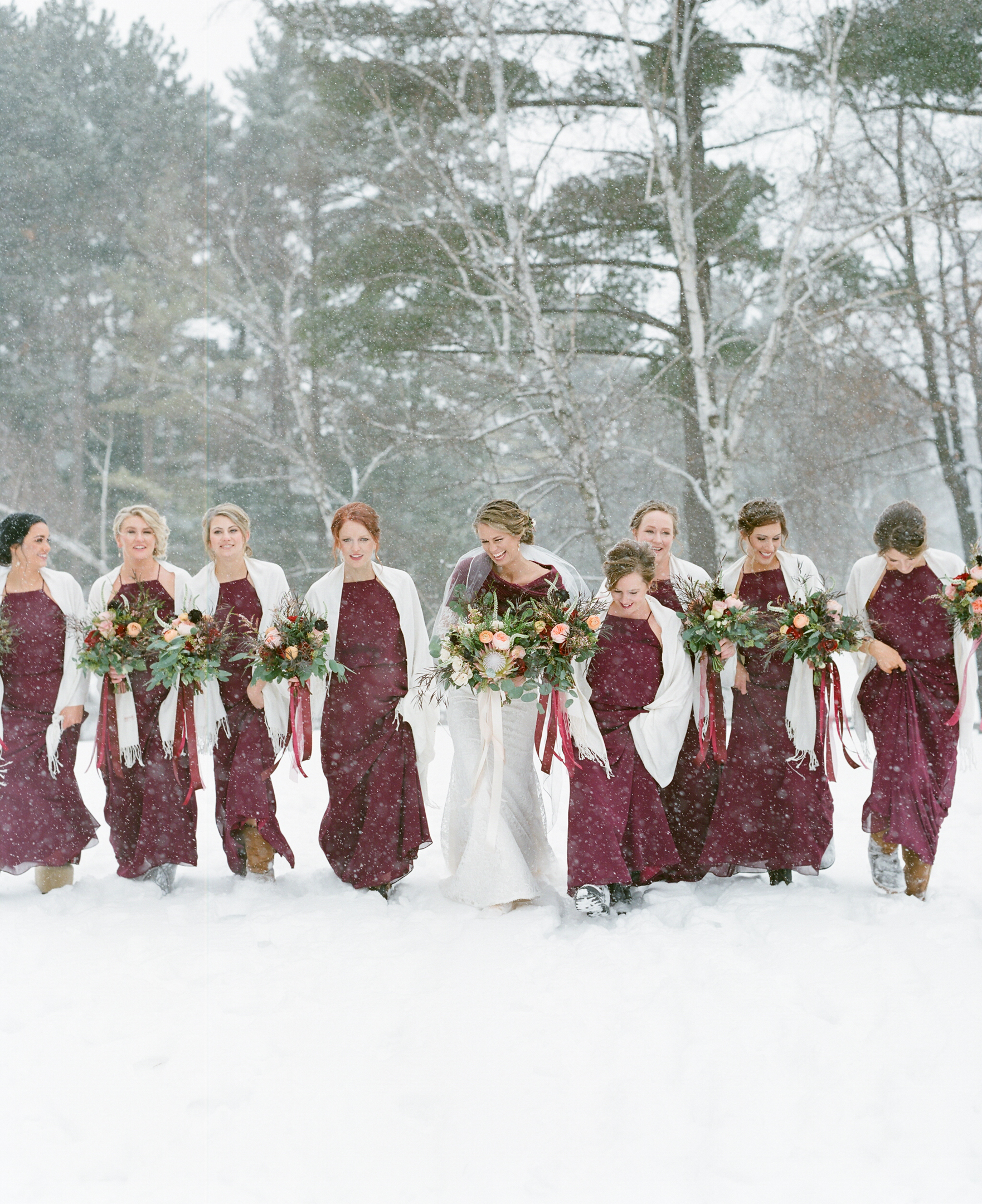 winter wedding burgundy bridesmaid dresses and flowers