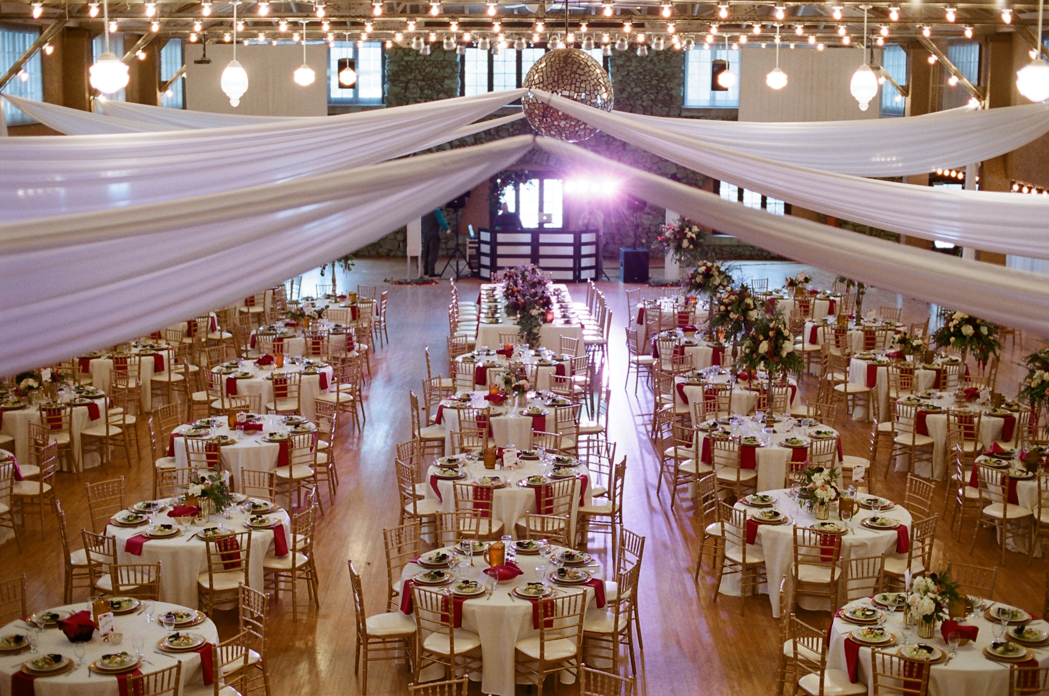 burgundy and gold Rothschild Pavilion winter wedding reception