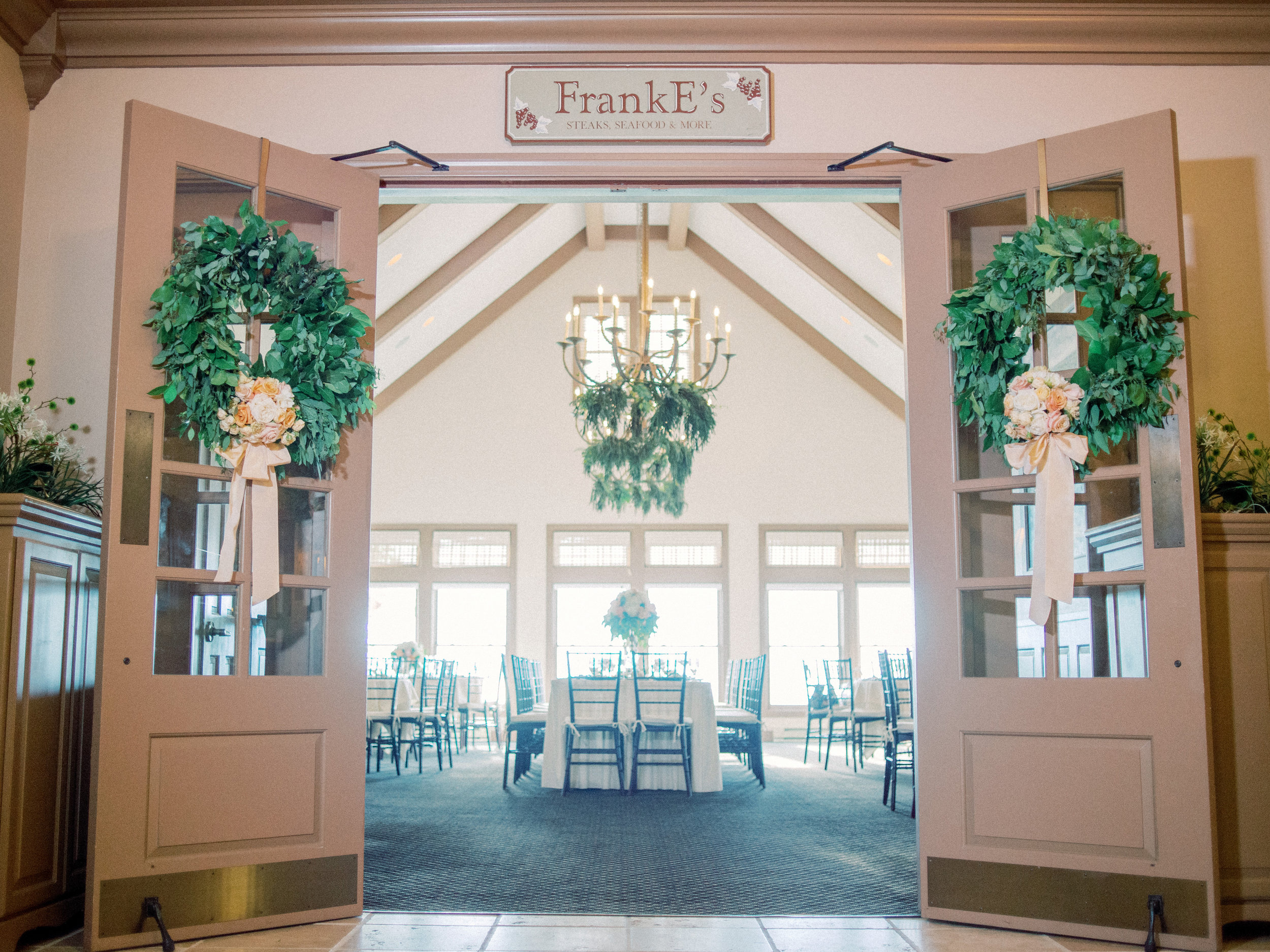 Horseshoe Bay Golf club reception with double door wreath entrance
